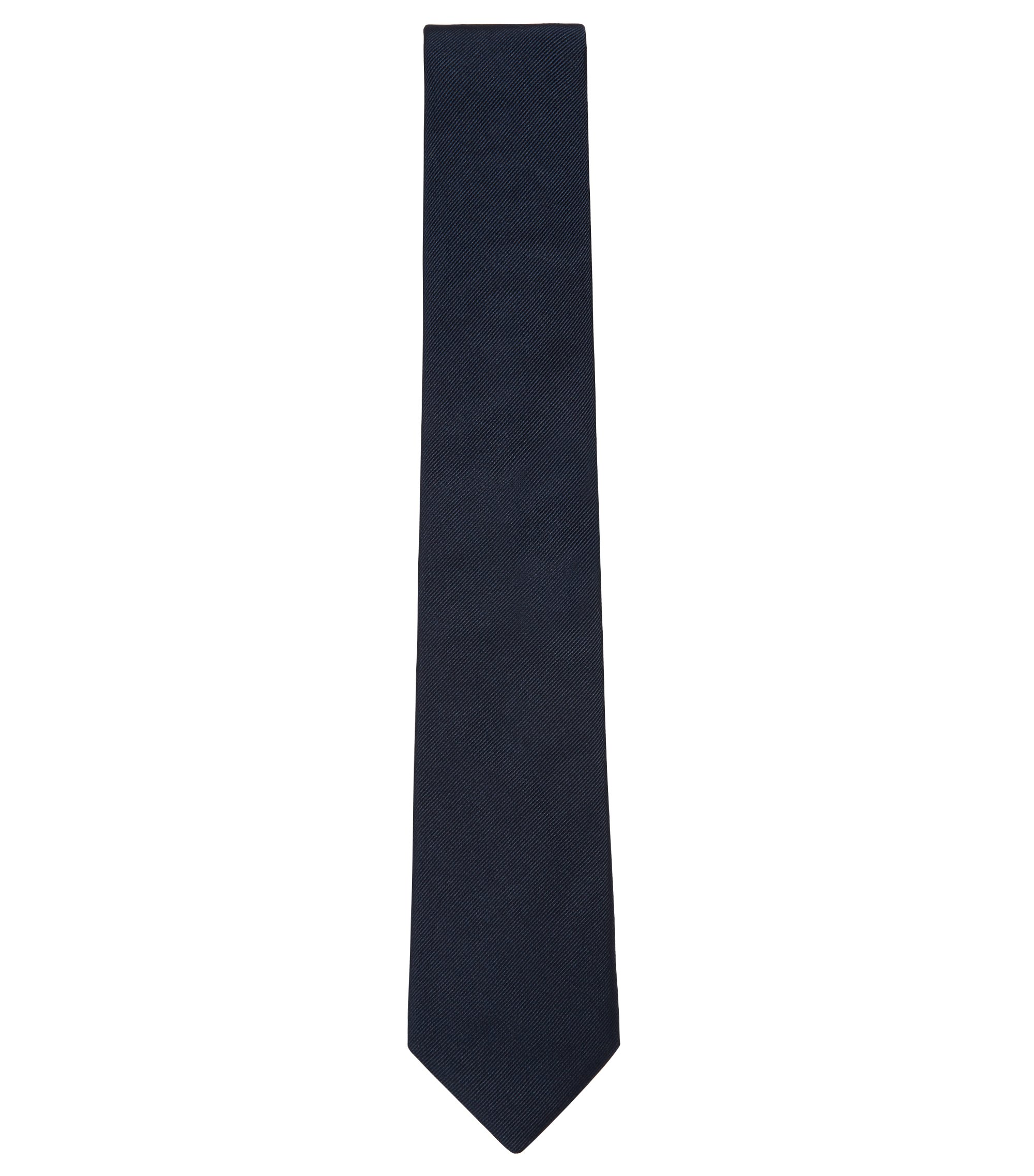 Cravate en jacquard de soie confectionnée en Italie, Bleu foncé