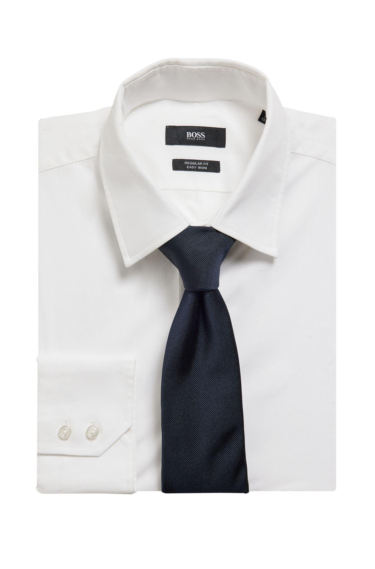 In Italië vervaardigde stropdas in een jacquard van zijde, Donkerblauw