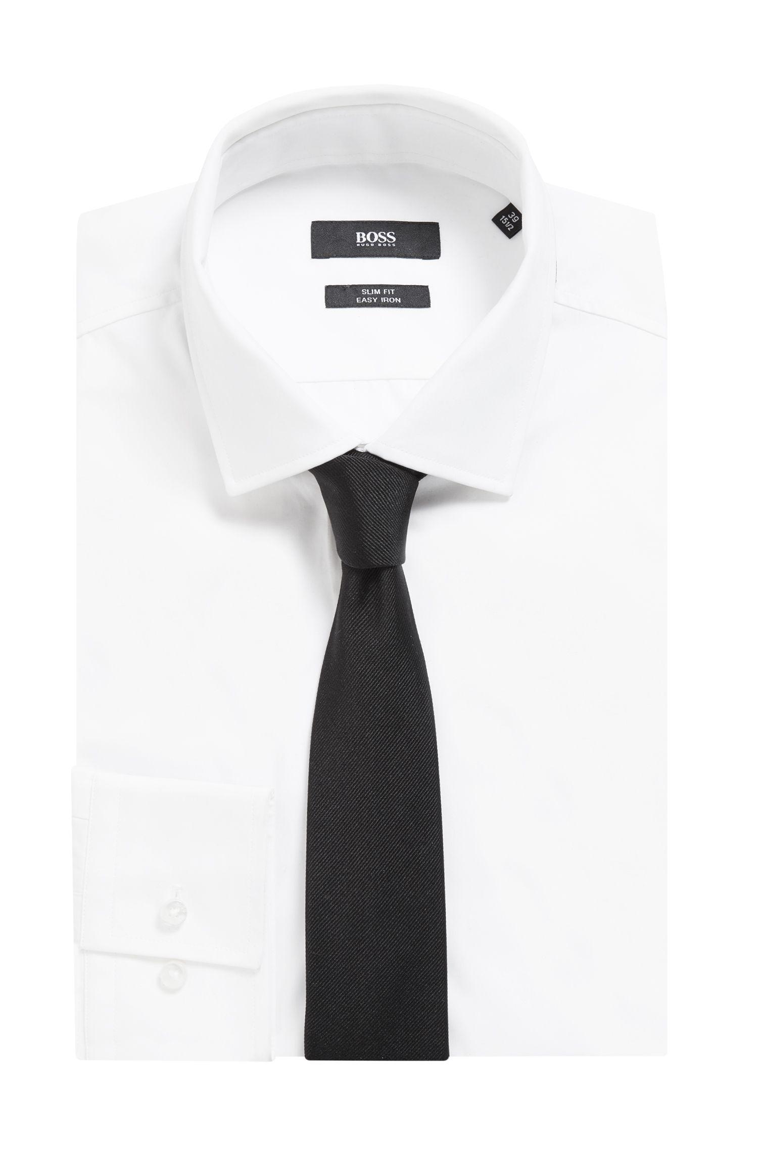 Cravate jacquard en soie au toucher satiné, Noir