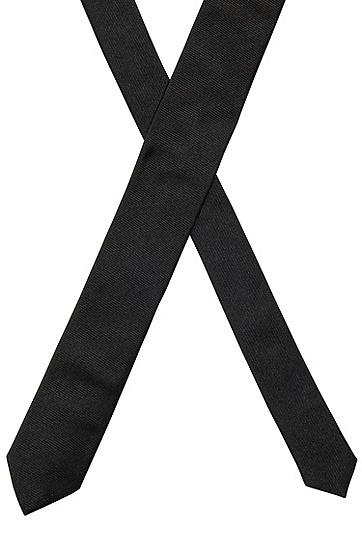 绸缎触感桑蚕丝提花领带,  001_黑色