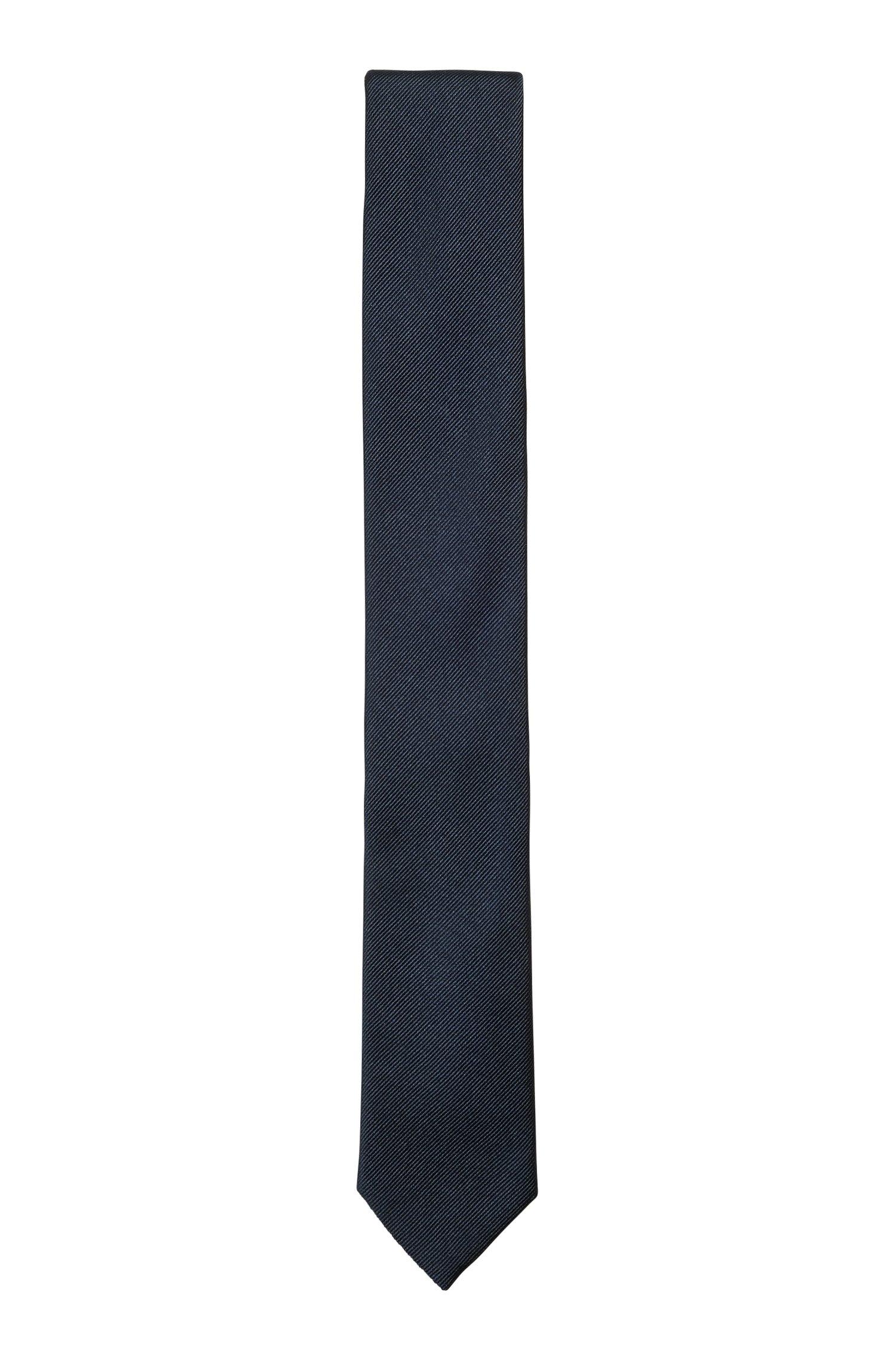Silk-jacquard tie made in Italy, Dark Blue
