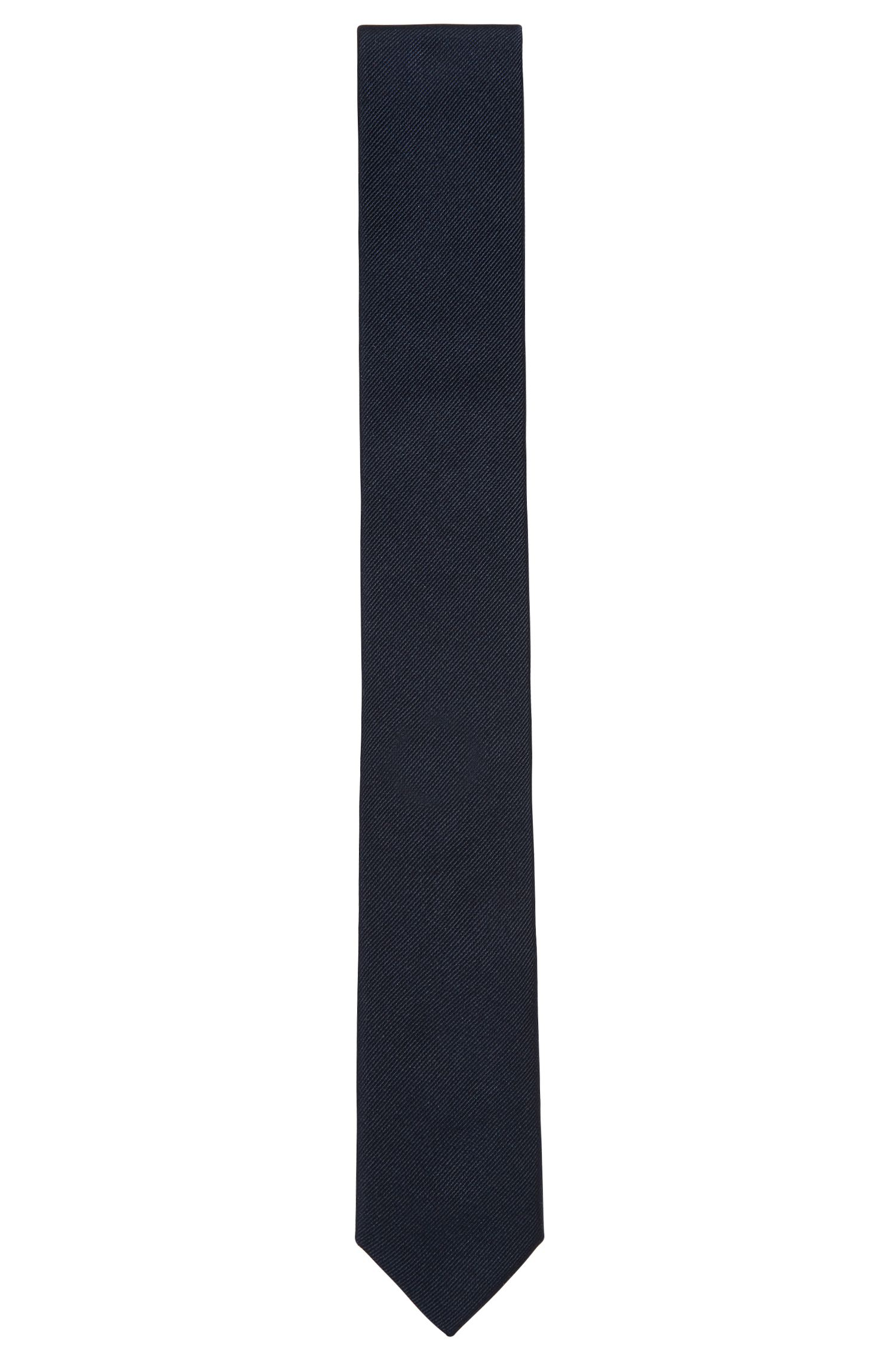 Jacquard tie in satin-touch silk, Dark Blue