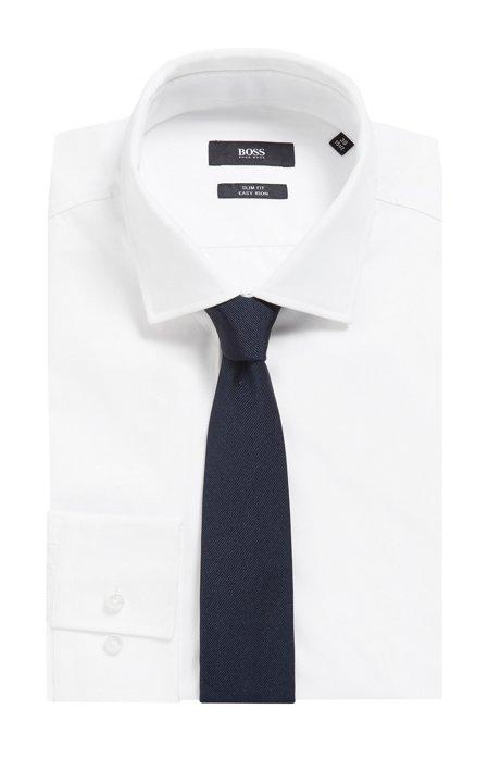 Cravate jacquard en soie au toucher satiné, Bleu foncé