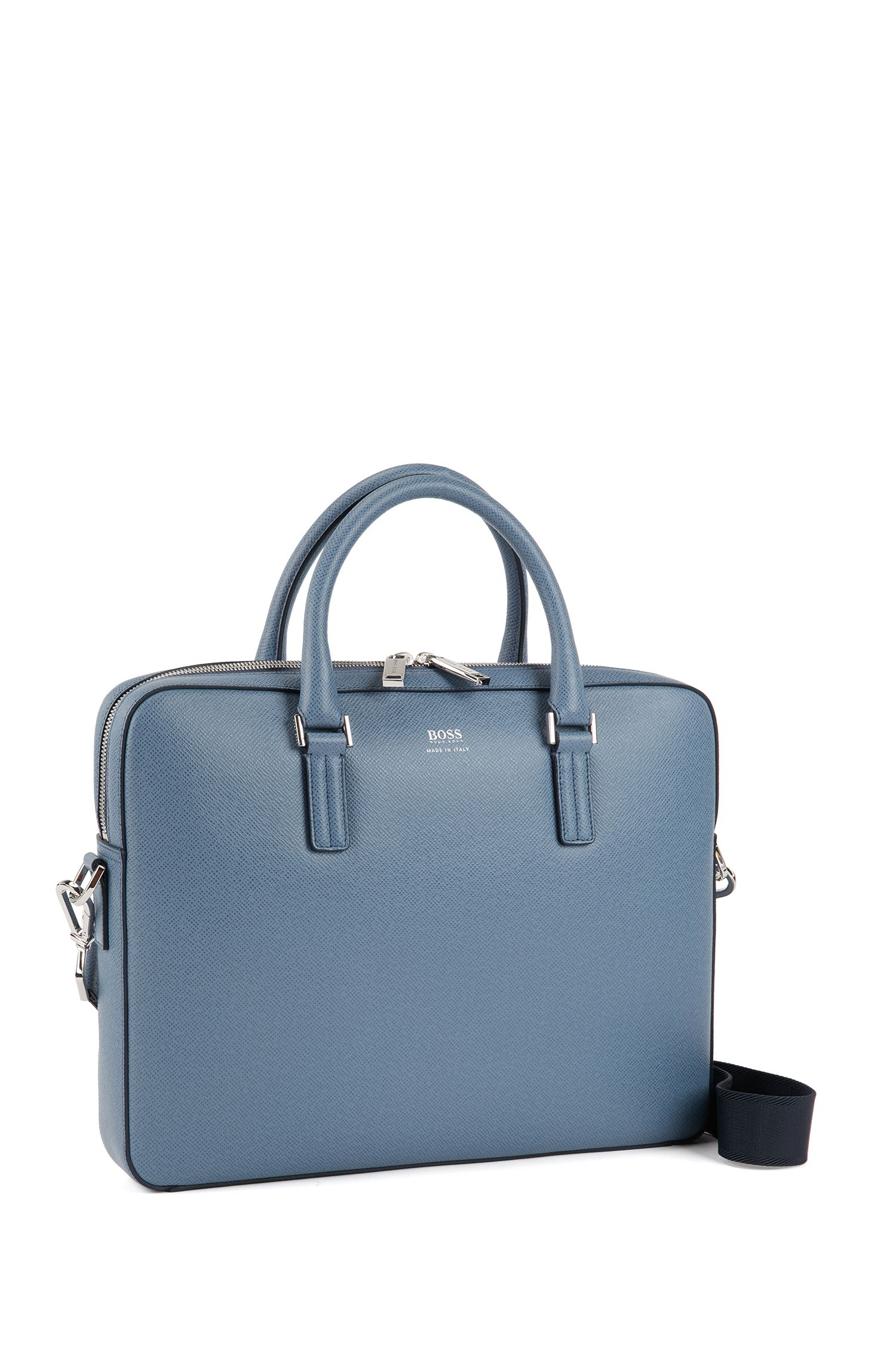 Signature Collection document case in printed palmellato leather, Light Blue