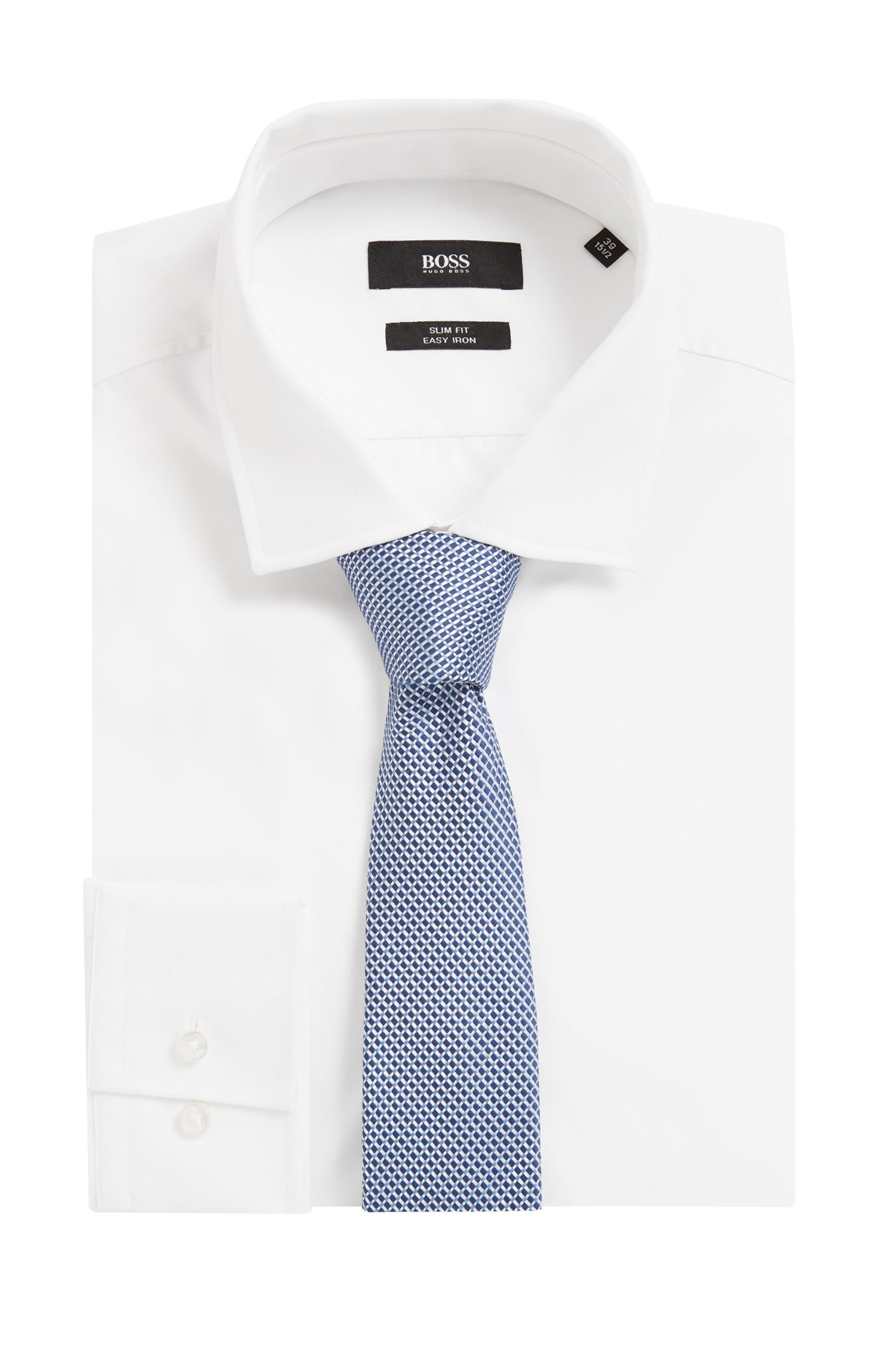 Italian-made textured silk-jacquard tie, Light Blue