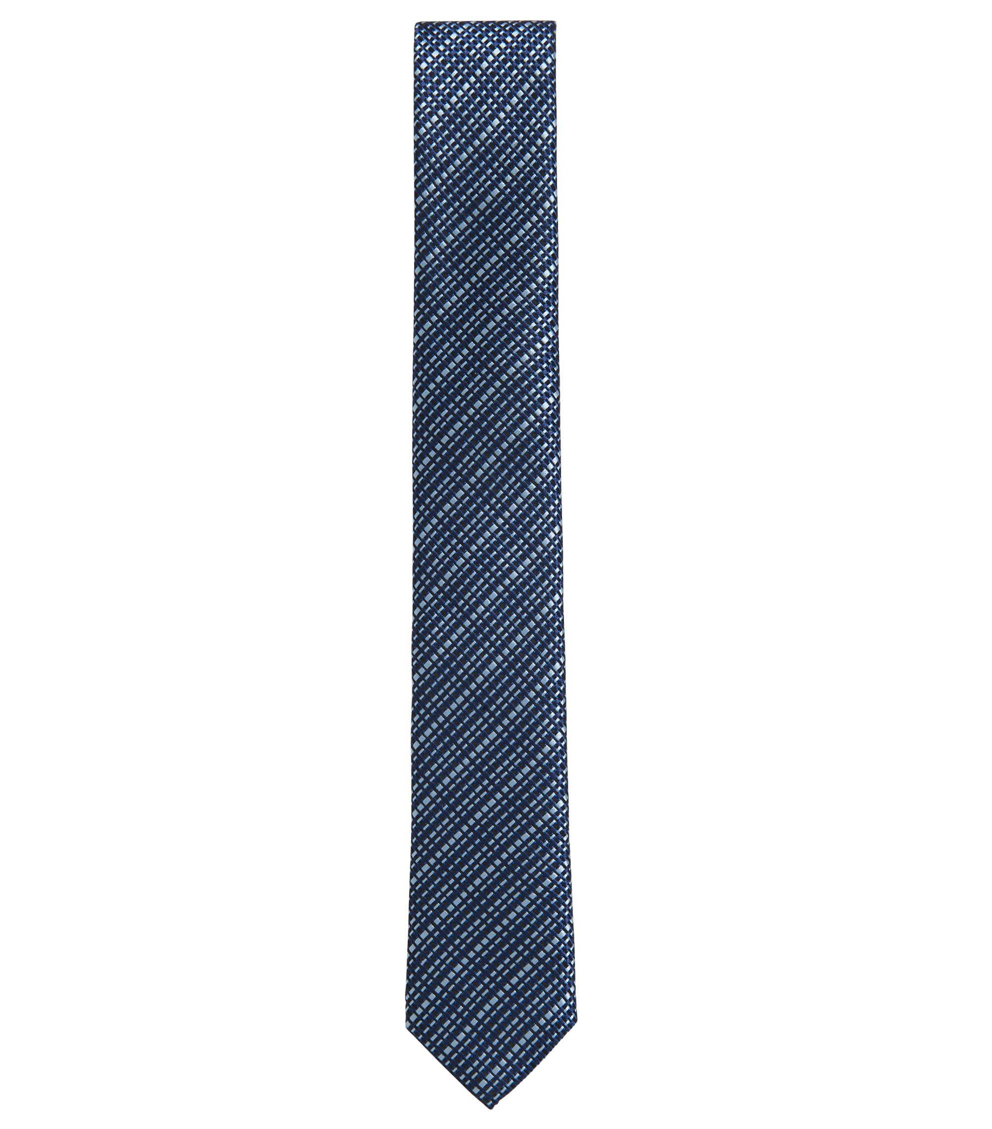 Italian-made textured silk-jacquard tie, Open Blue