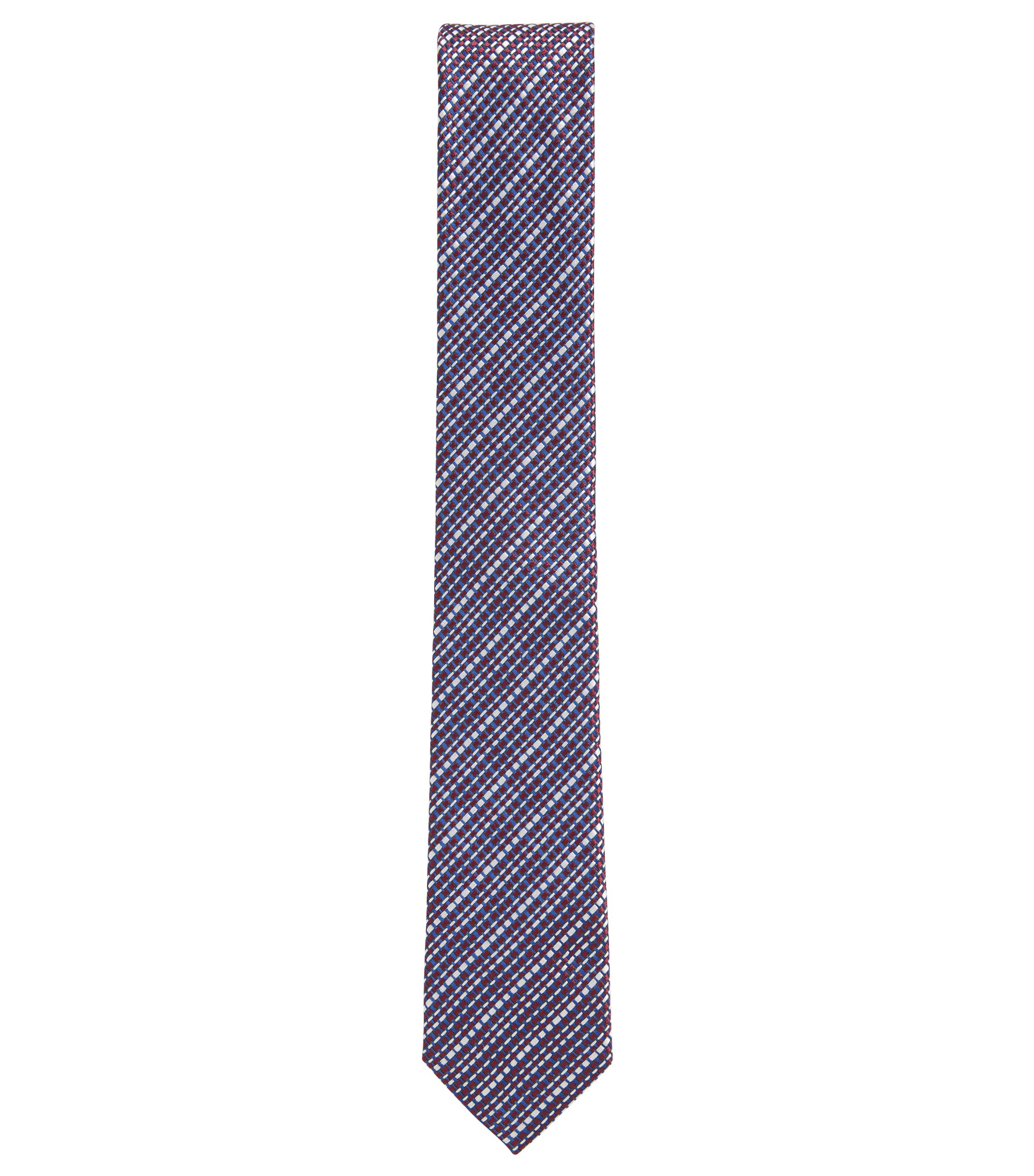 Italian-made textured silk-jacquard tie, Red