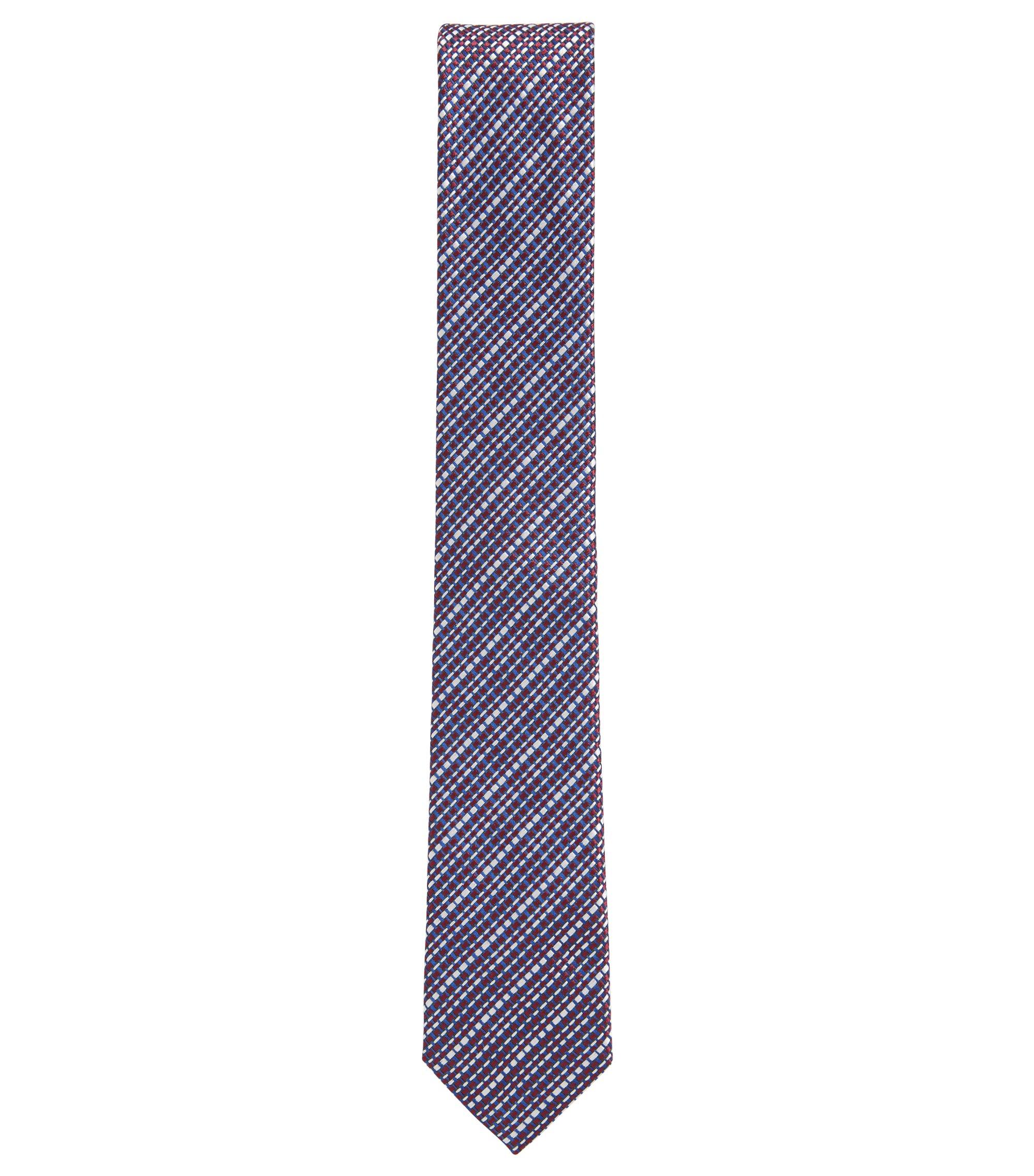Corbata elaborada en Italia en jacquard de seda con textura, Rojo
