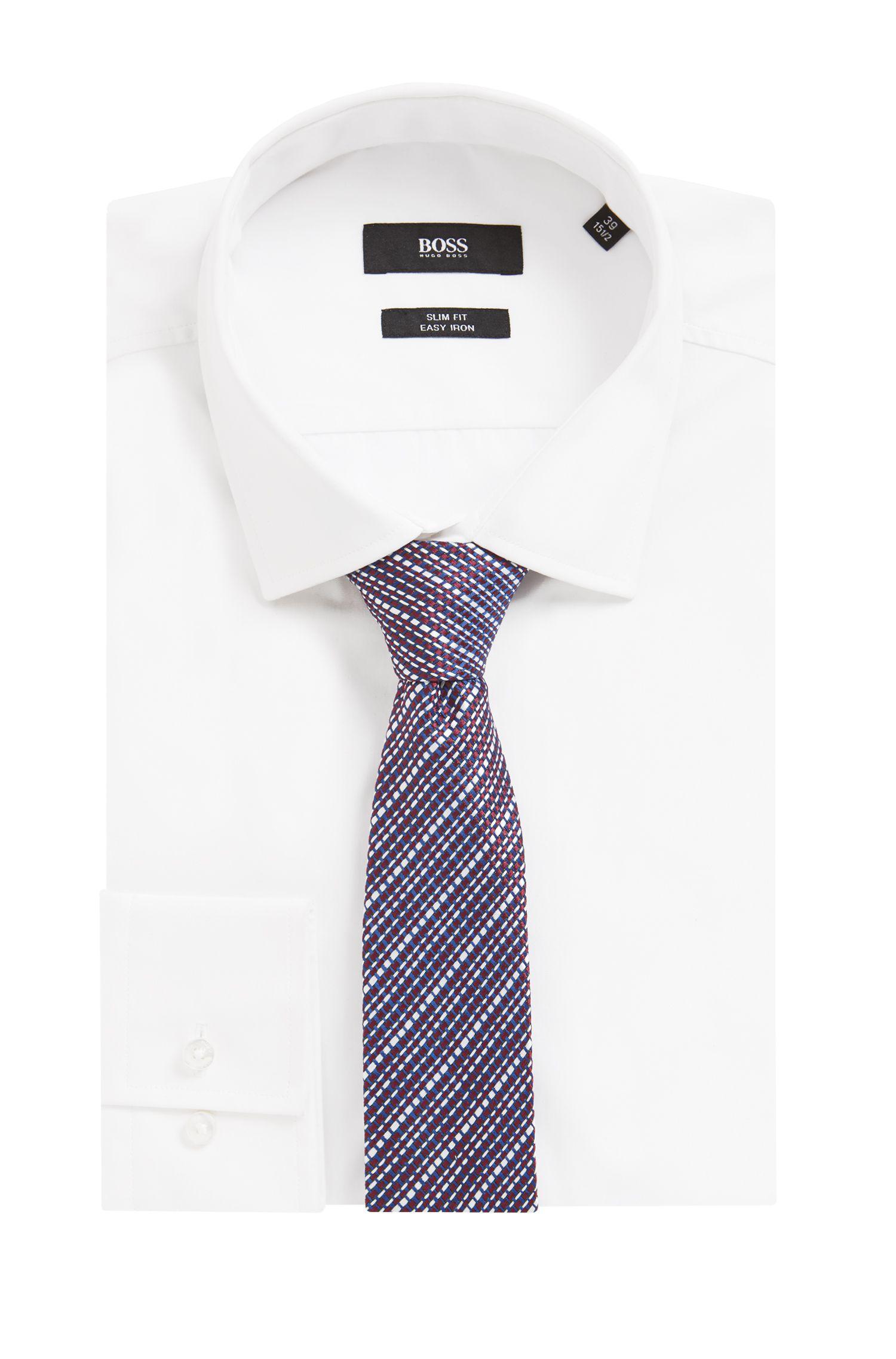 In Italien gefertigte Krawatte aus strukturiertem Seiden-Jacquard, Rot
