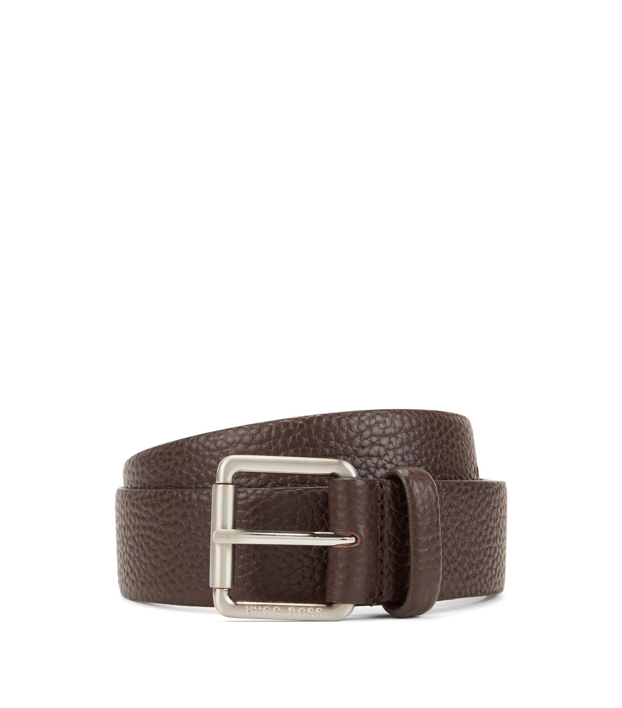 Roller-buckle belt in natural-grain leather, Dark Brown