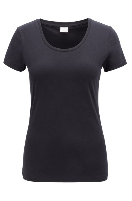 Scoop-neck jersey top in a pima-cotton blend, Black