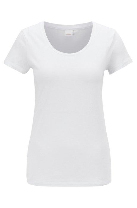 Haut en jersey à encolure ronde, en coton Pima mélangé, Blanc