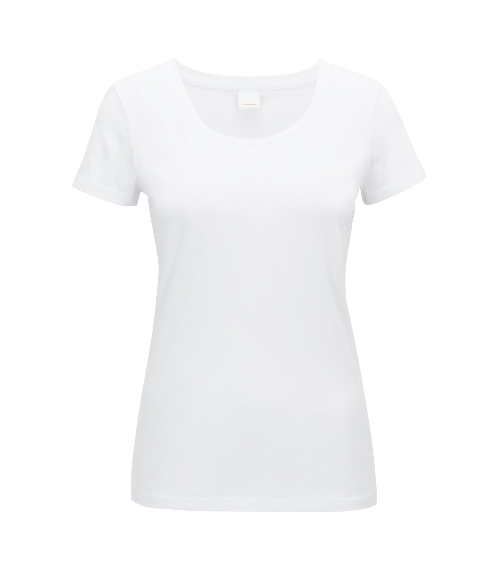 Scoop-neck jersey top in a pima-cotton blend, White