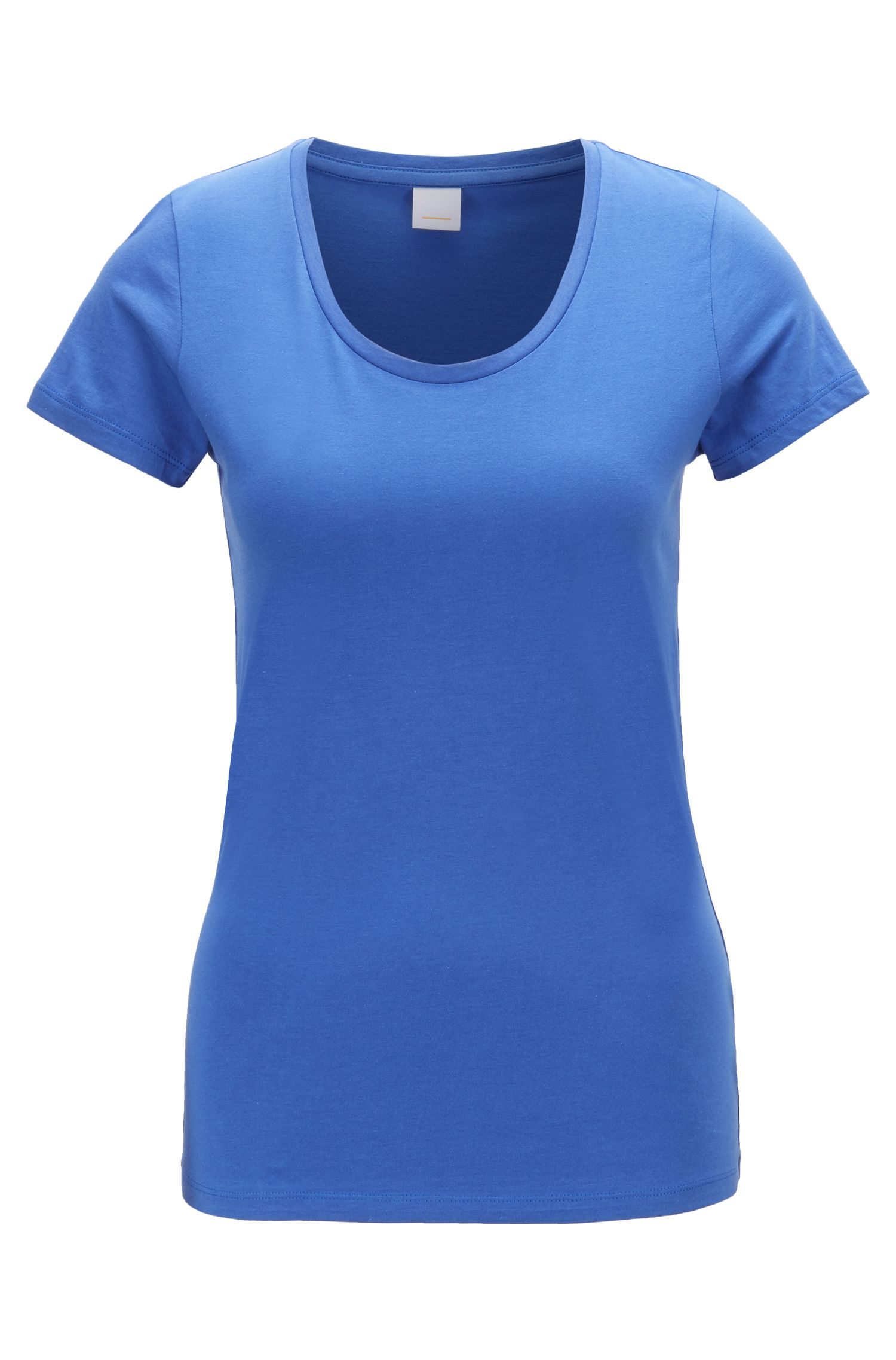 Scoop-neck jersey top in a pima-cotton blend, Blue