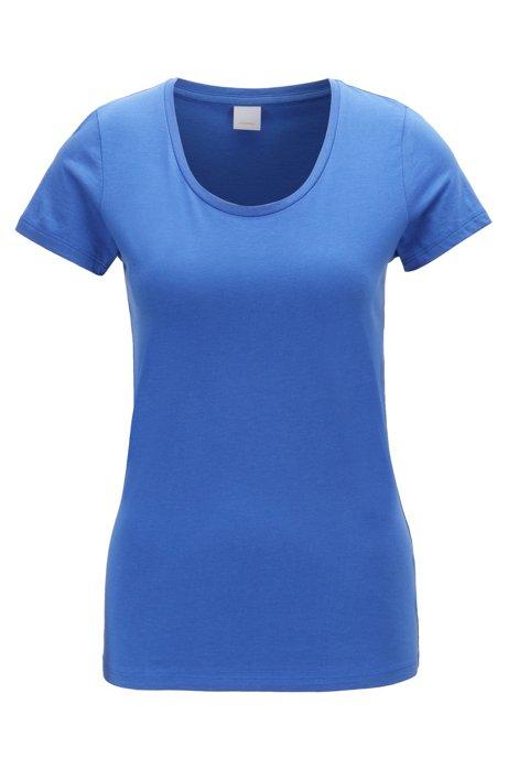 T-Shirt aus Single Jersey mit U-Ausschnitt, Blau