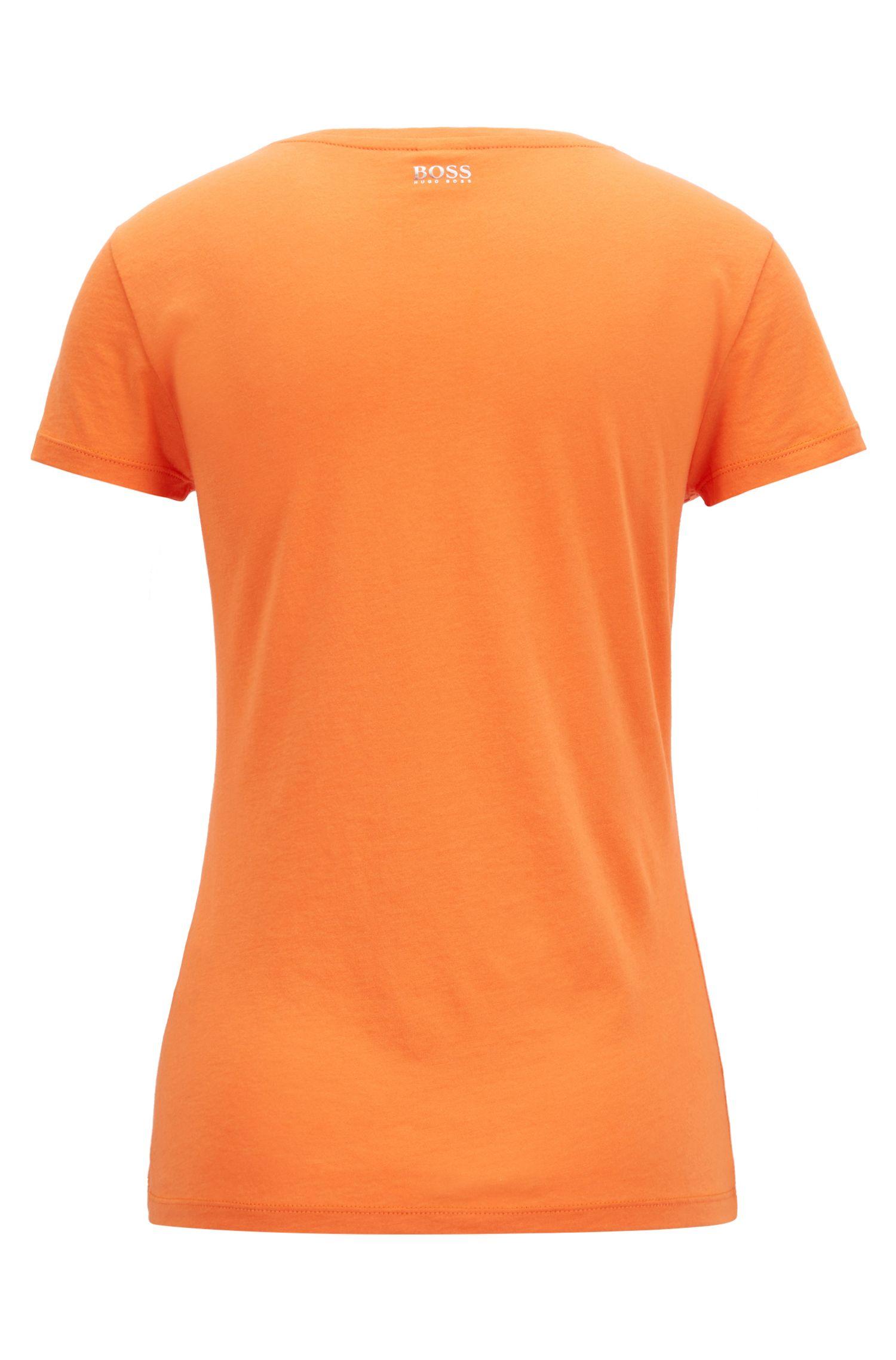 Top de punto con escote redondeado en mezcla de algodón Pima, Naranja