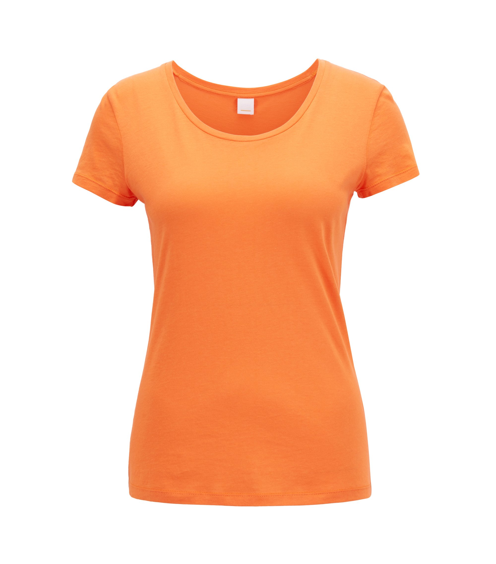 Scoop-neck jersey top in a pima-cotton blend, Orange