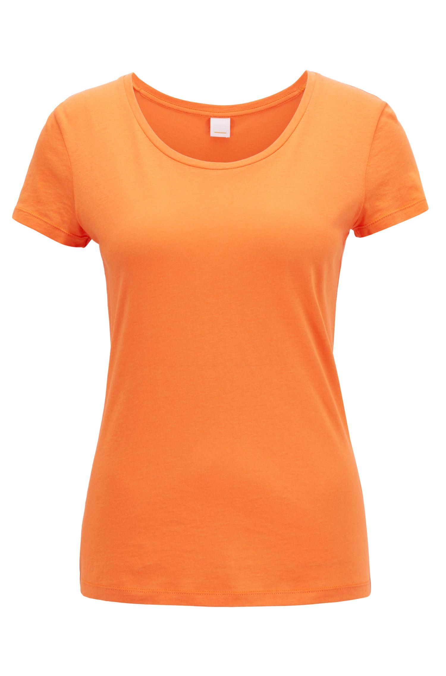 Jerseytop van een pimakatoenmix met wijde, ronde hals, Oranje