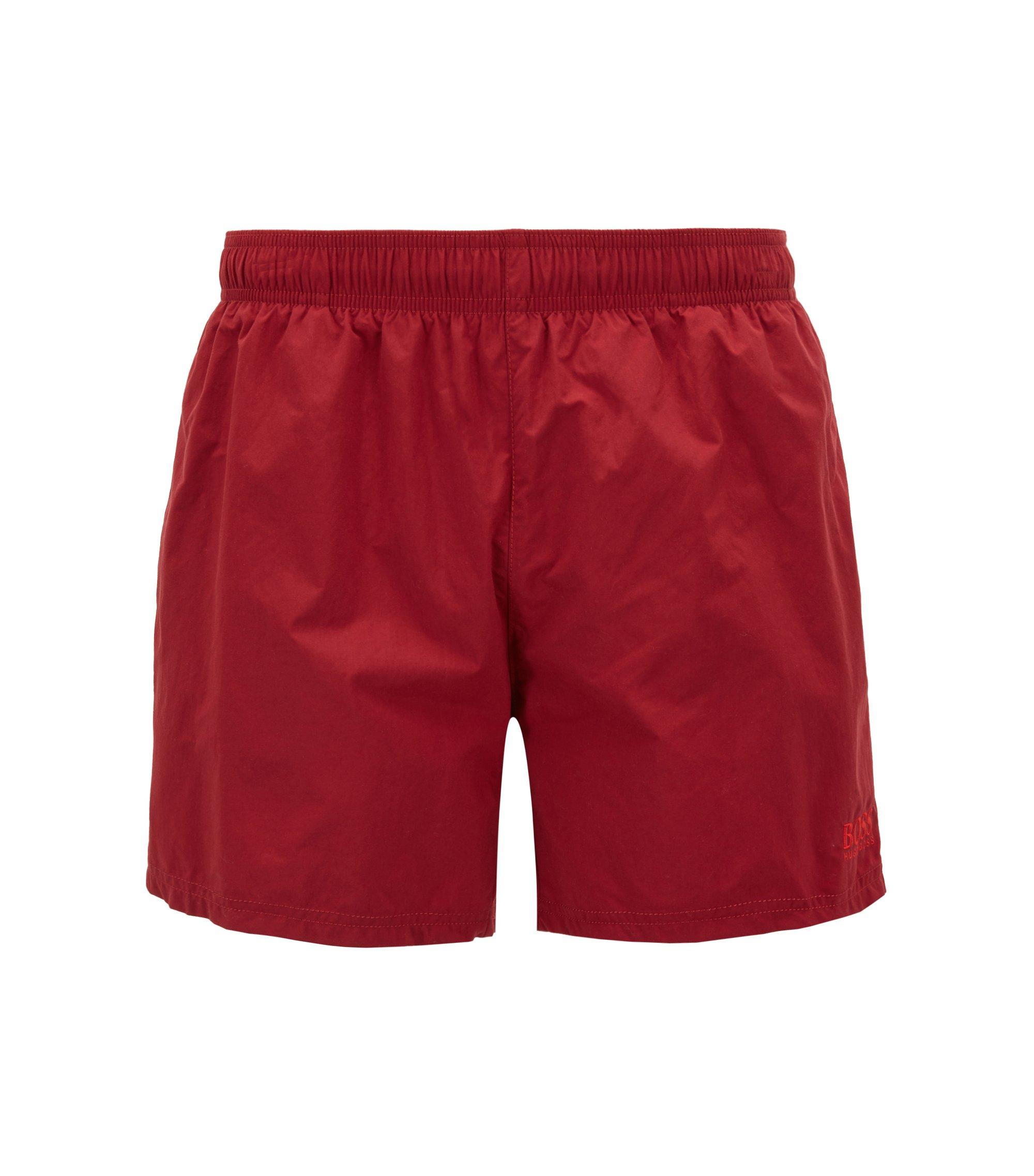 Boxer da bagno in tessuto tecnico ad asciugatura rapida, Rosso scuro