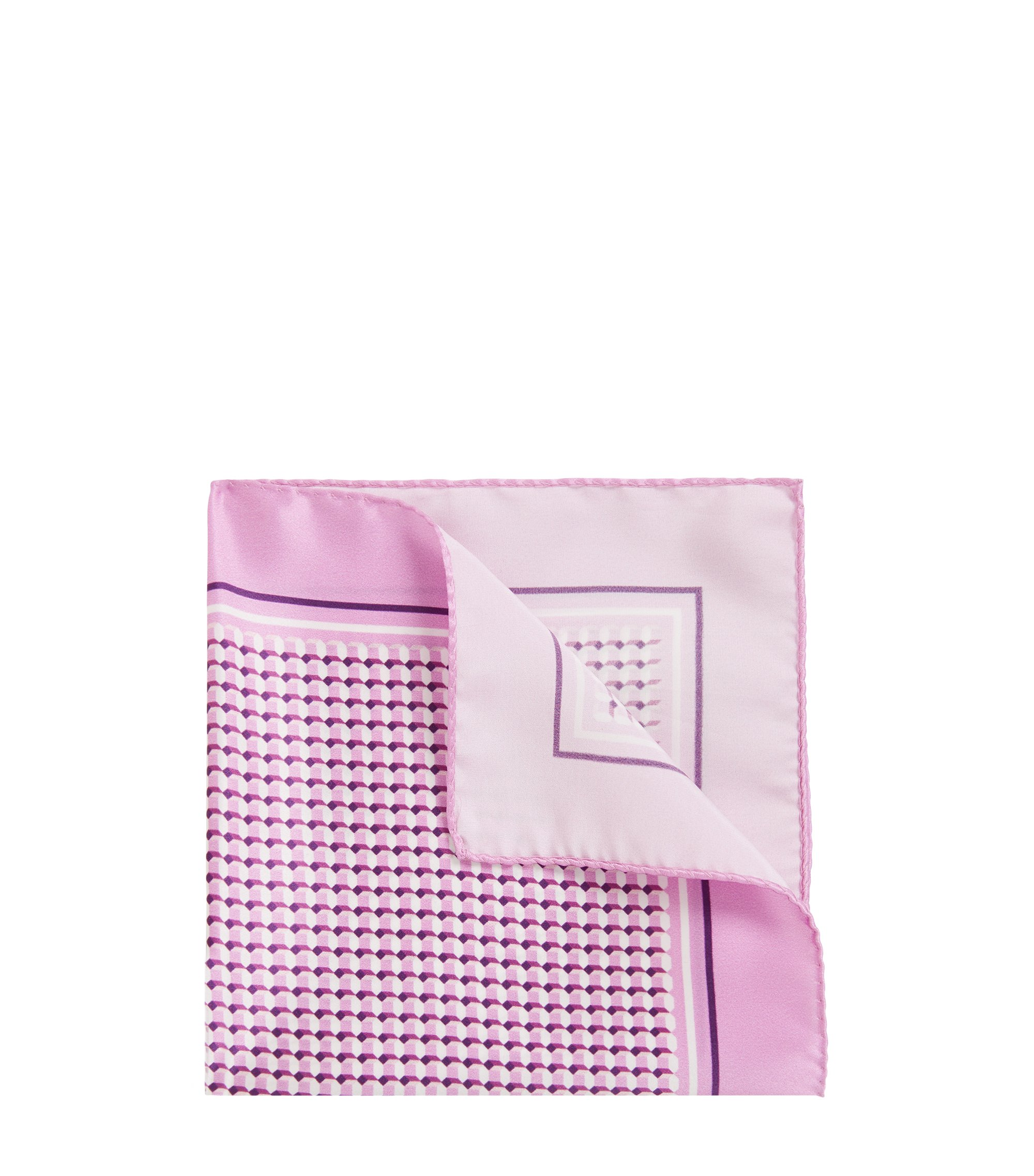 Italian-made silk pocket square with print, light pink