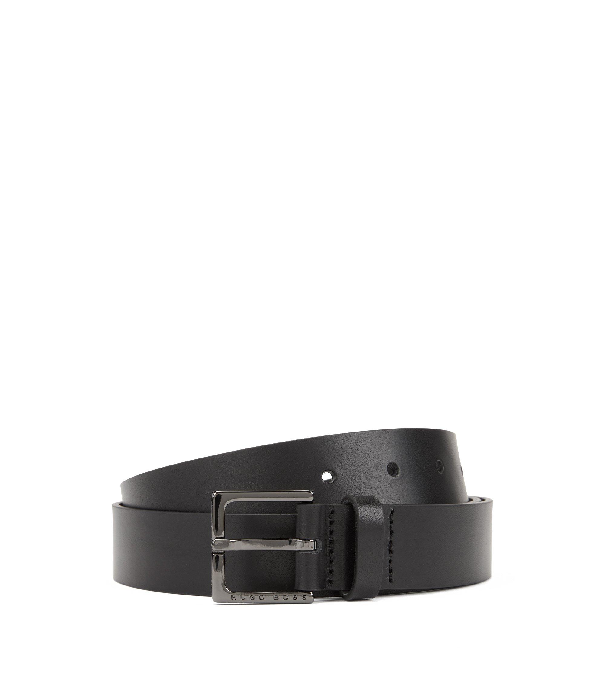 Ledergürtel mit polierter Schließe, Schwarz