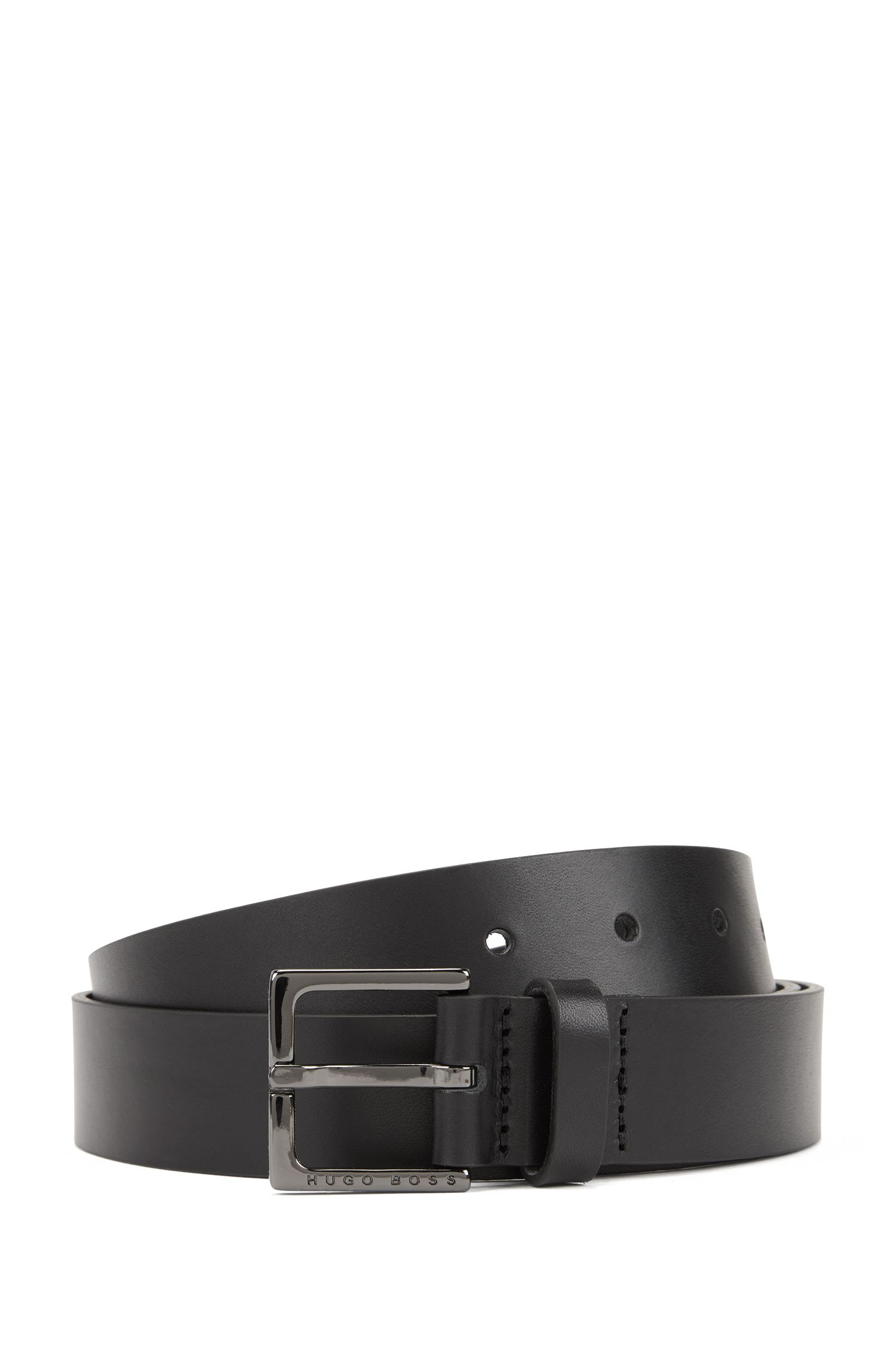 Leather belt with polished gunmetal buckle, Black