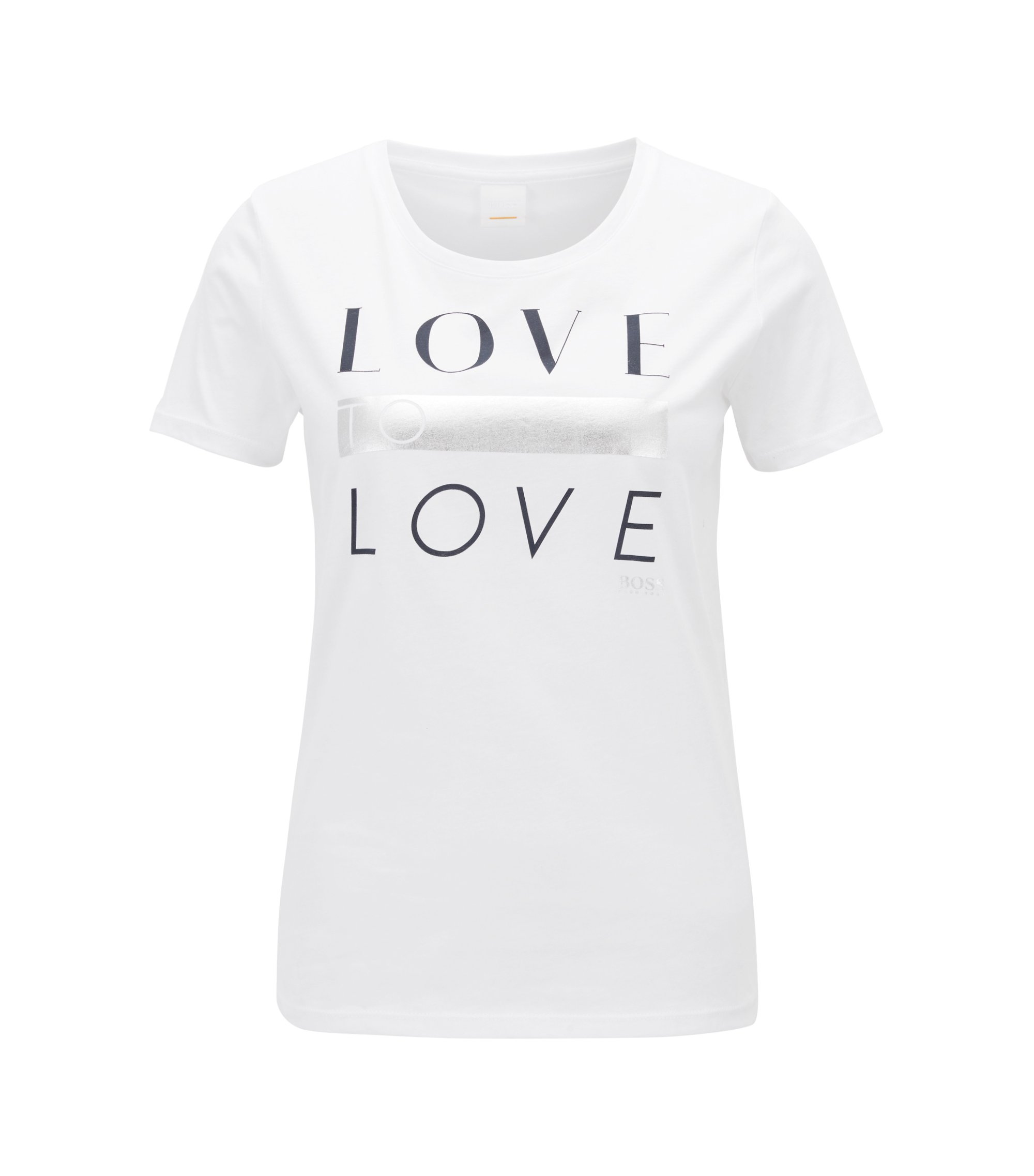 Cotton-jersey T-shirt with printed slogan, White