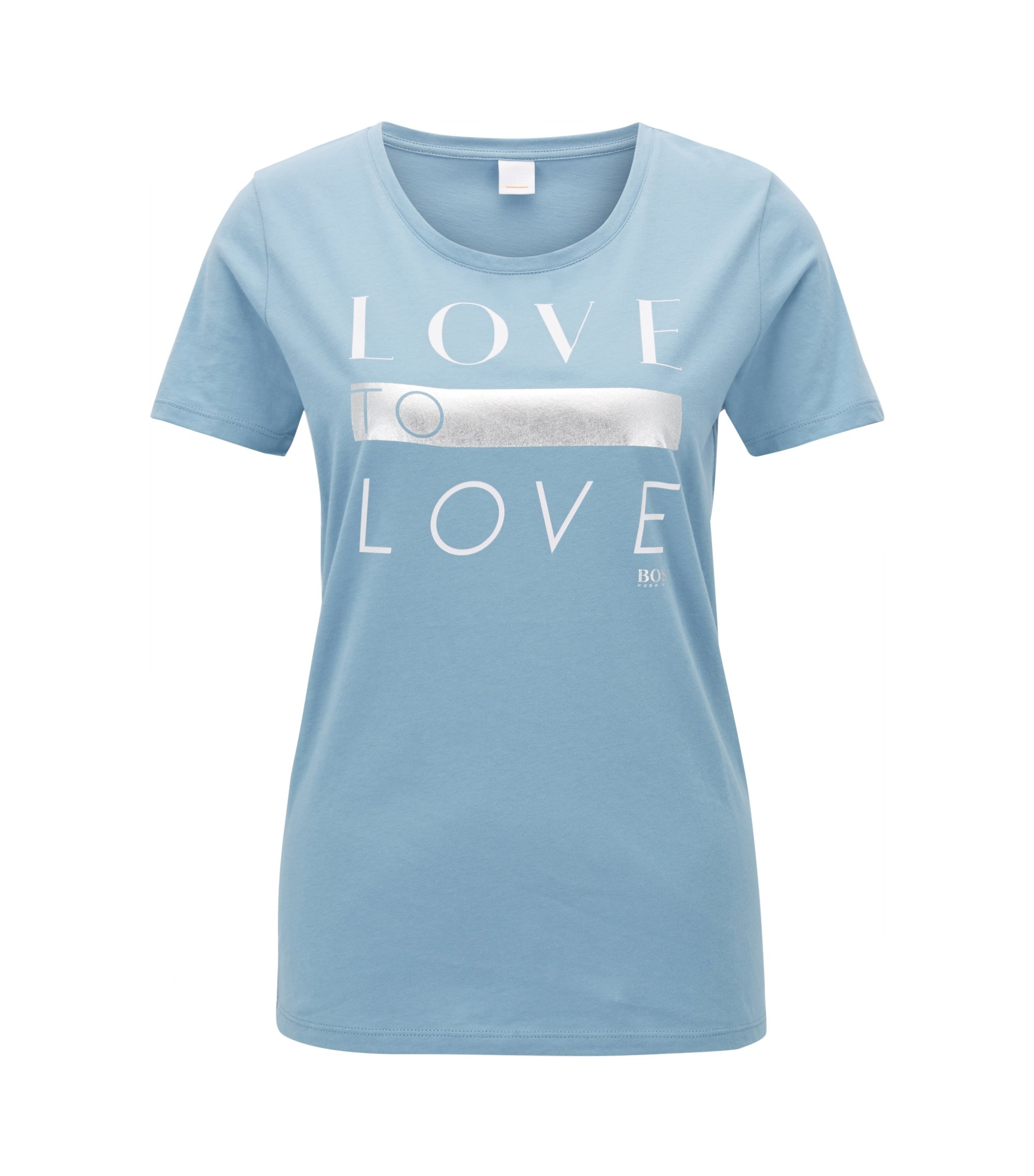 Cotton-jersey T-shirt with printed slogan, Light Blue