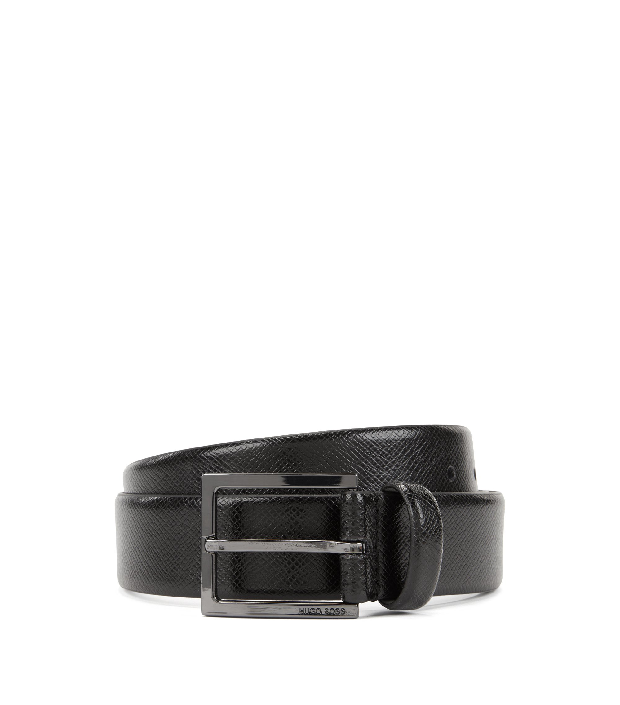 Leather belt with embossed Saffiano detailing , Black