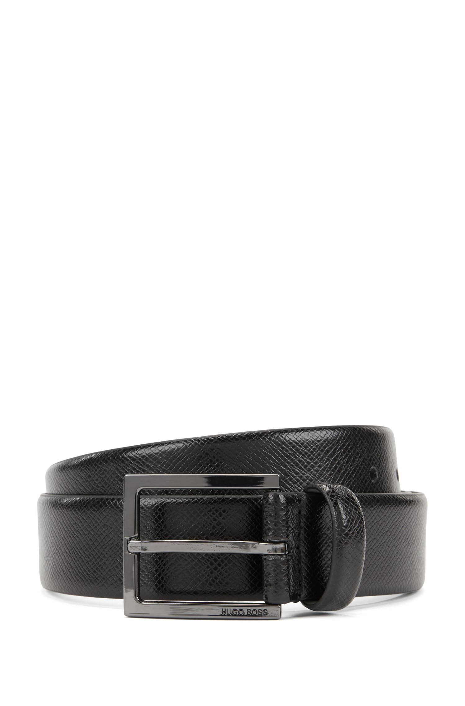 Leather belt with embossed Saffiano detailing