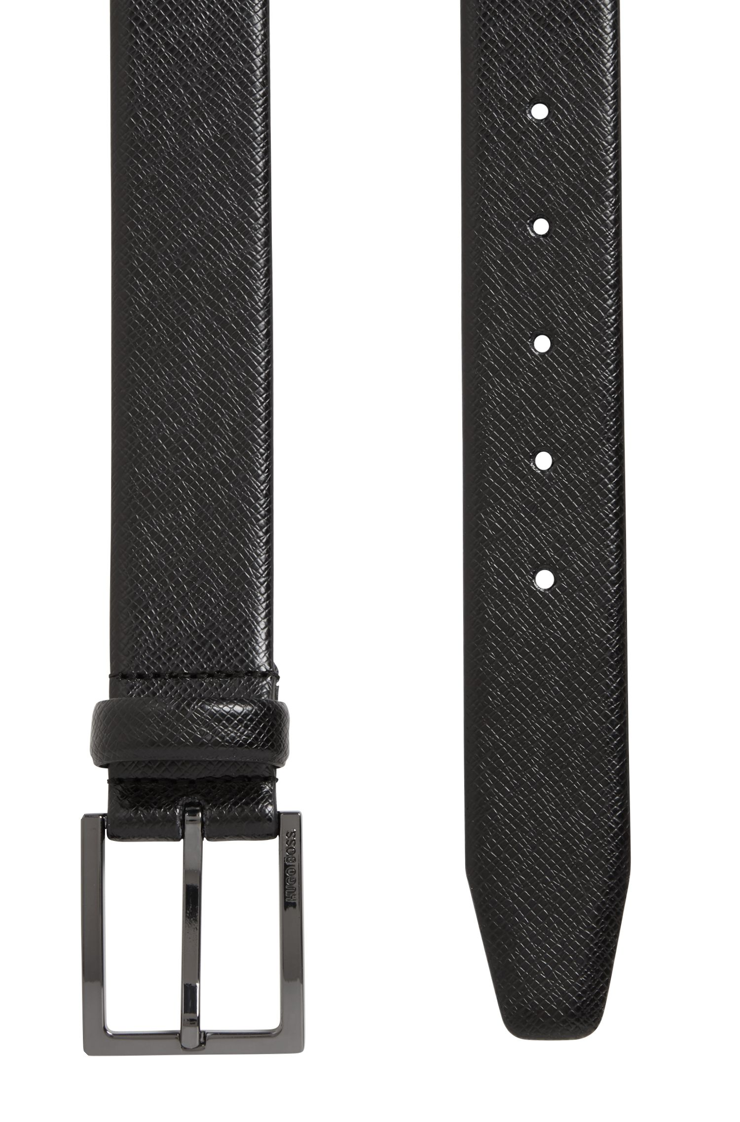Ledergürtel mit Saffiano-Prägung , Schwarz