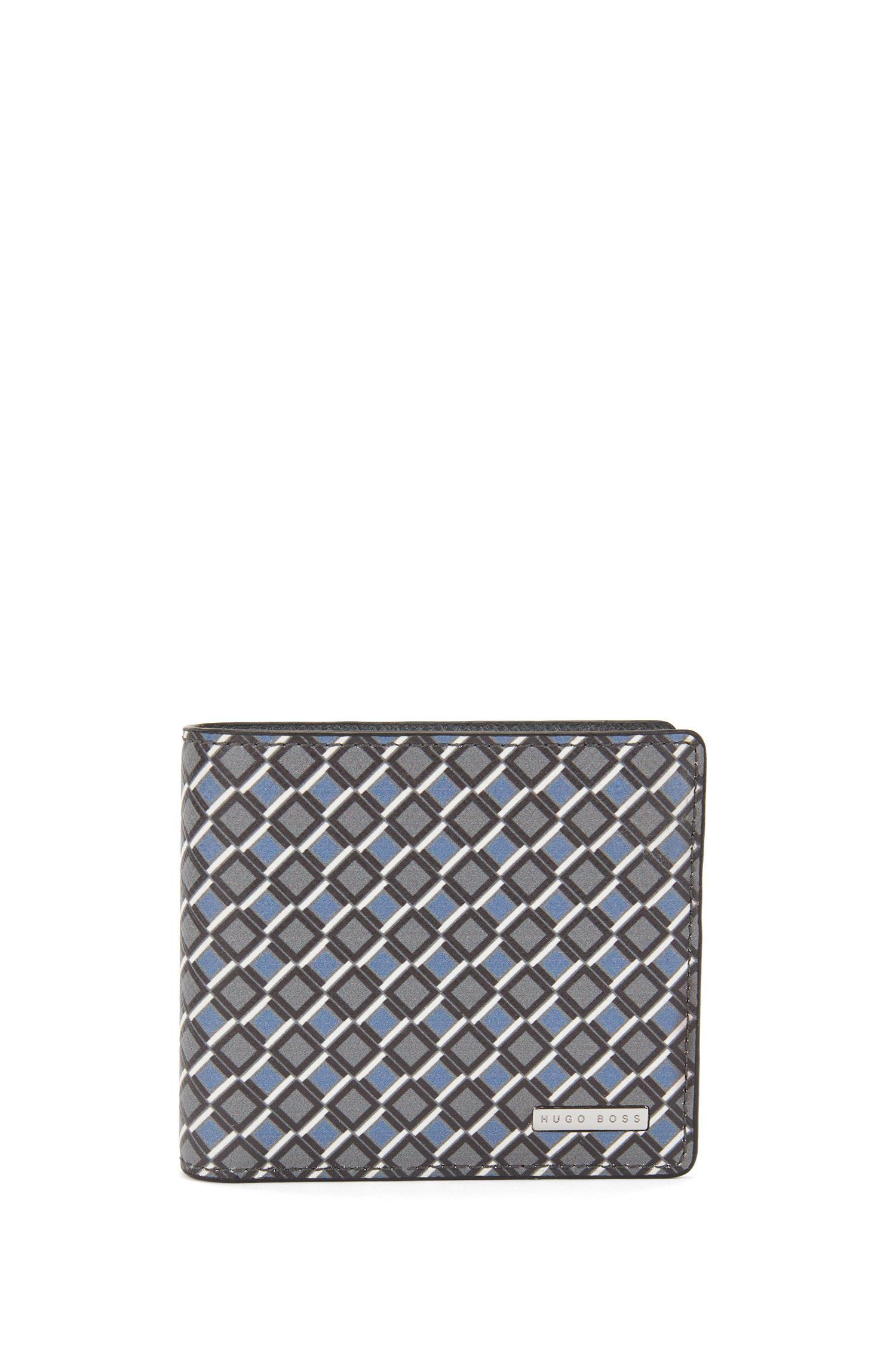Klapp-Geldbörse aus bedrucktem Leder mit Münzfach aus der Signature Collection, Gemustert