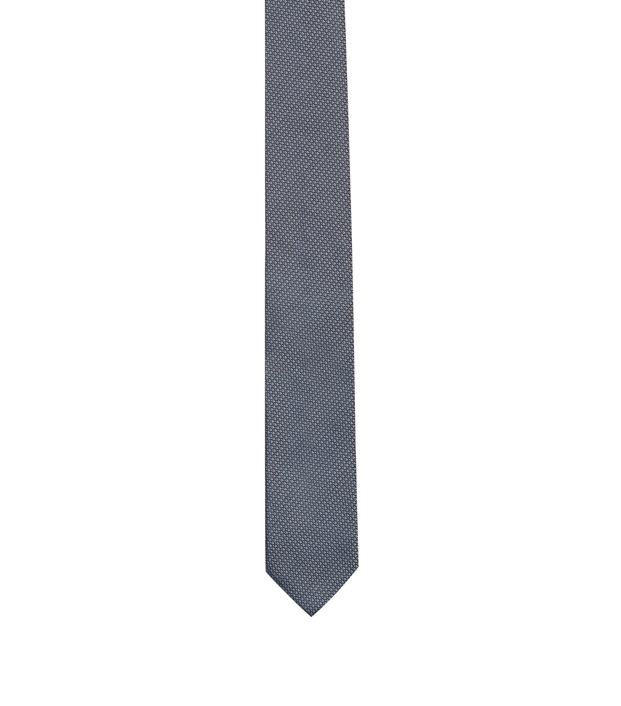 Silk-jacquard tie with micro pattern, Dark Blue