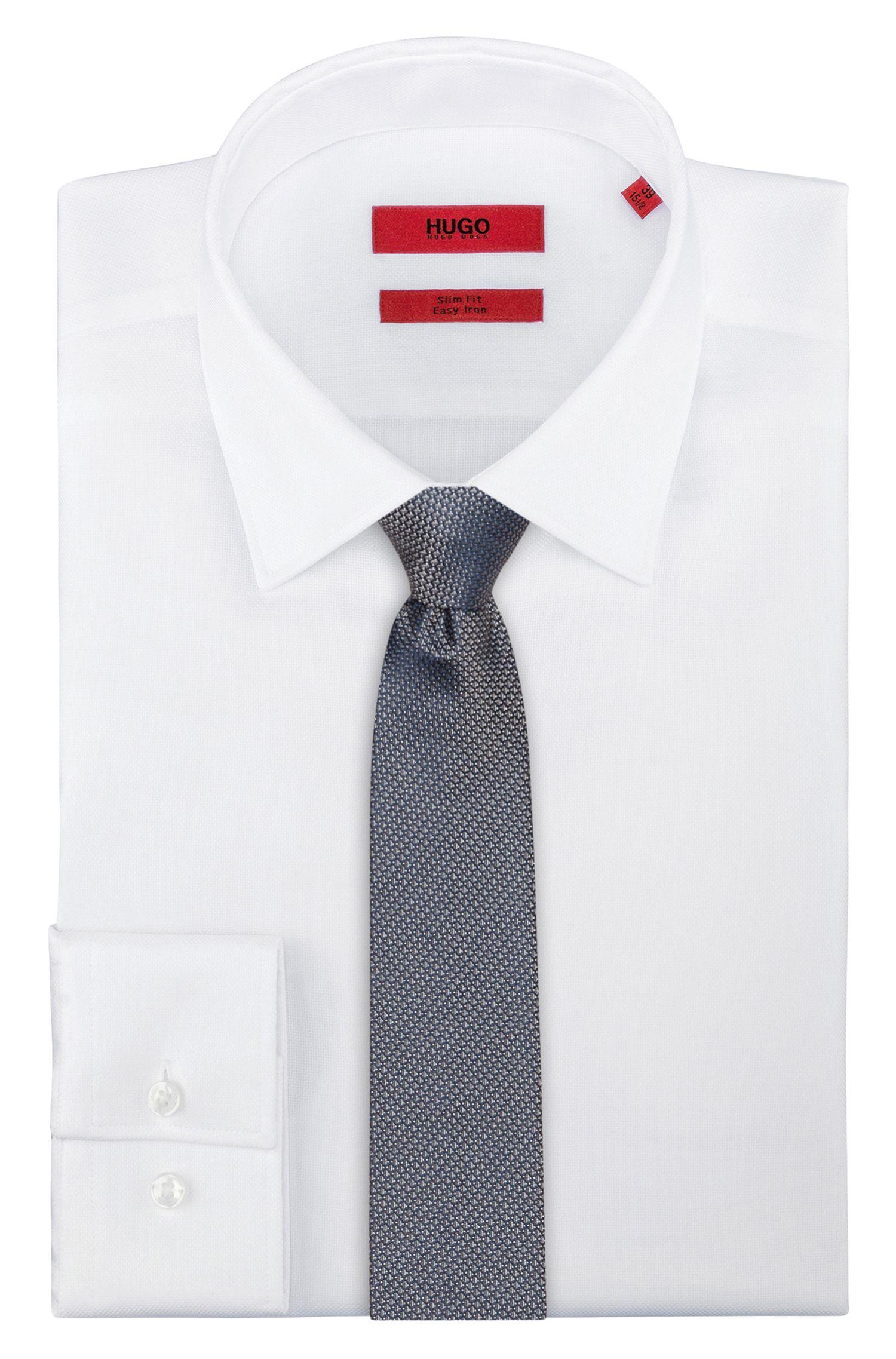 Krawatte aus Seiden-Jacquard mit filigranem Muster, Dunkelblau