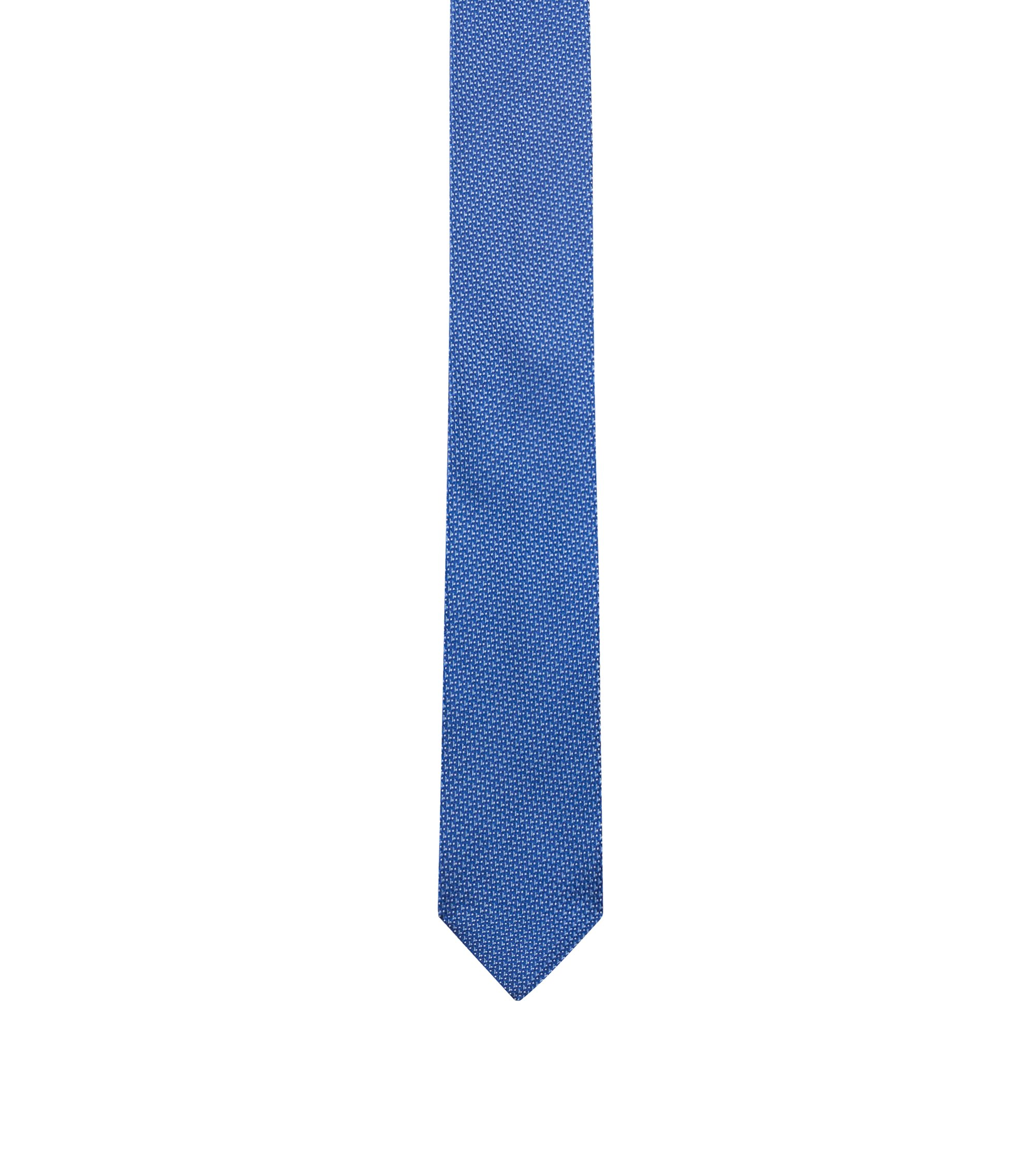 Silk-jacquard tie with micro pattern, Open Blue
