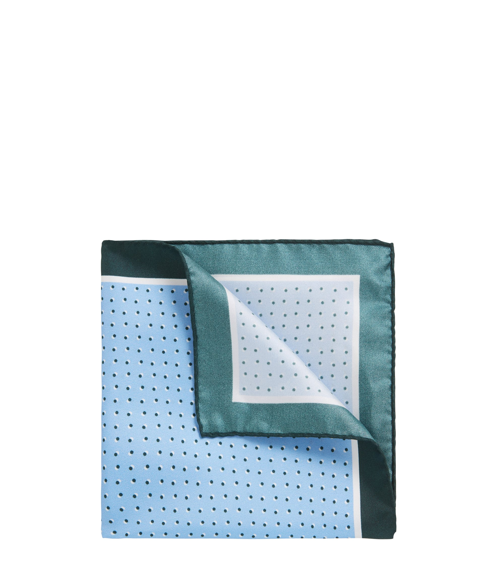Italian-made silk pocket square with printed motif, Light Blue