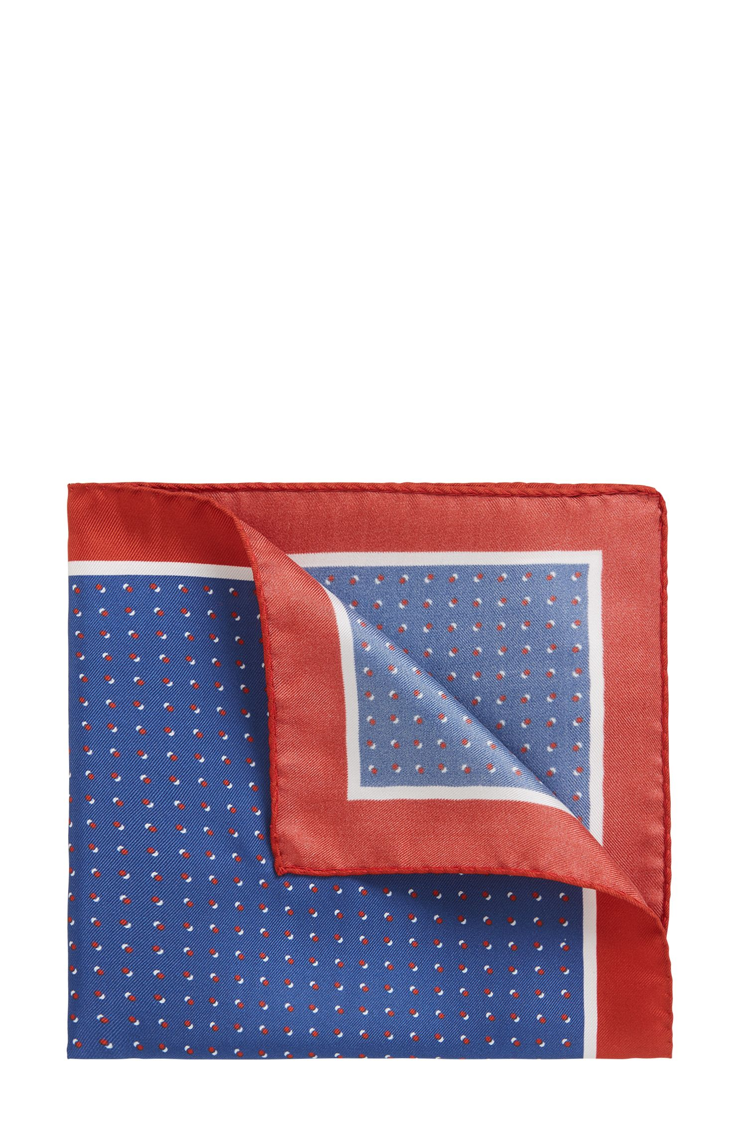 Italian-made silk pocket square with printed motif