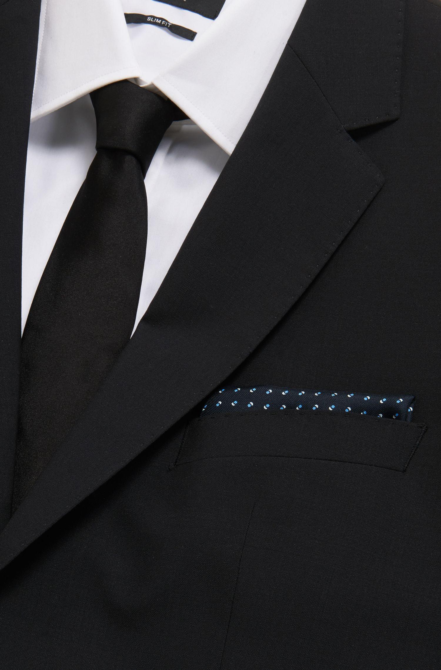 Pochette da taschino in seta realizzata in Italia con motivo stampato, Blu scuro