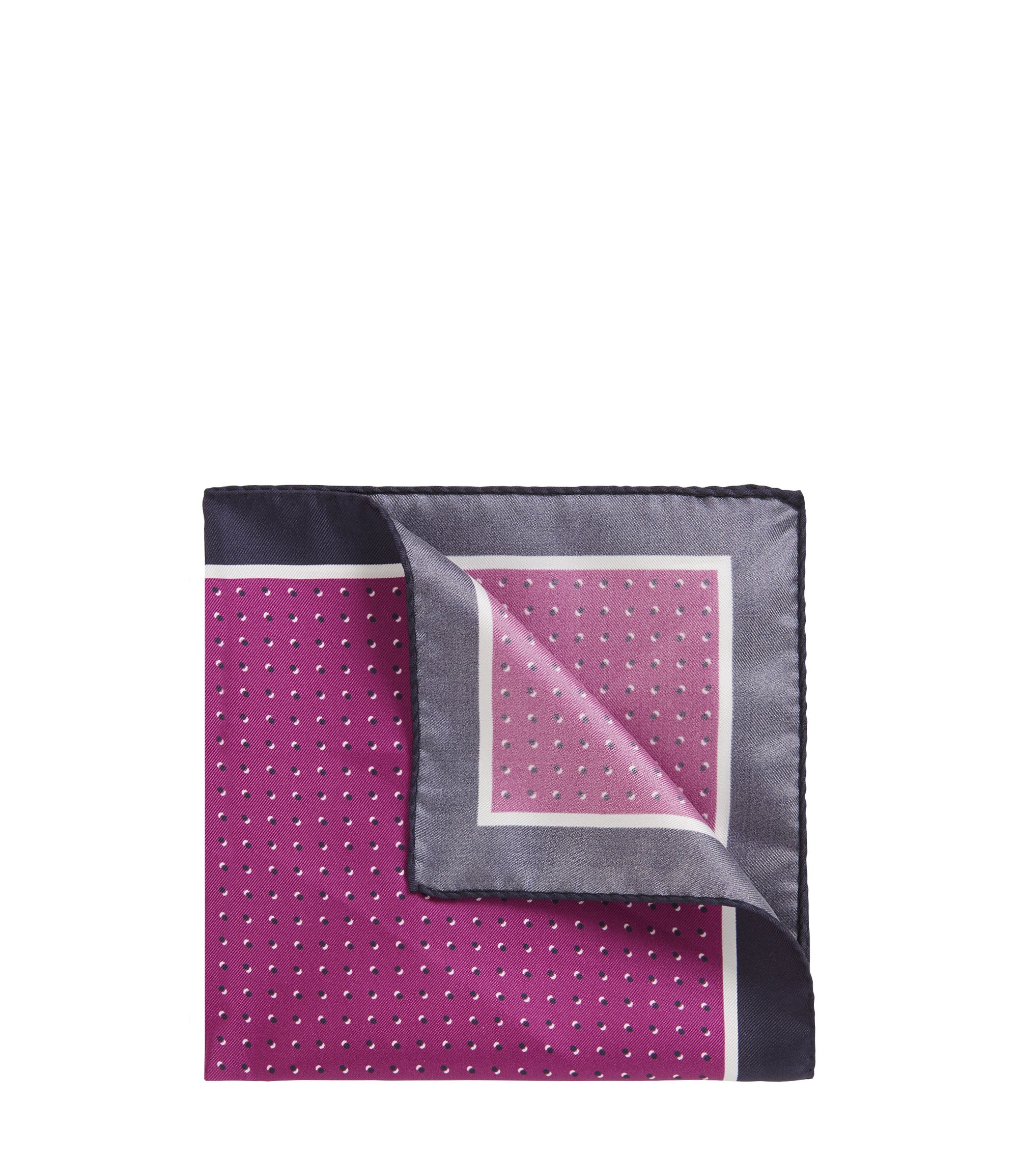 Italian-made silk pocket square with printed motif, Purple