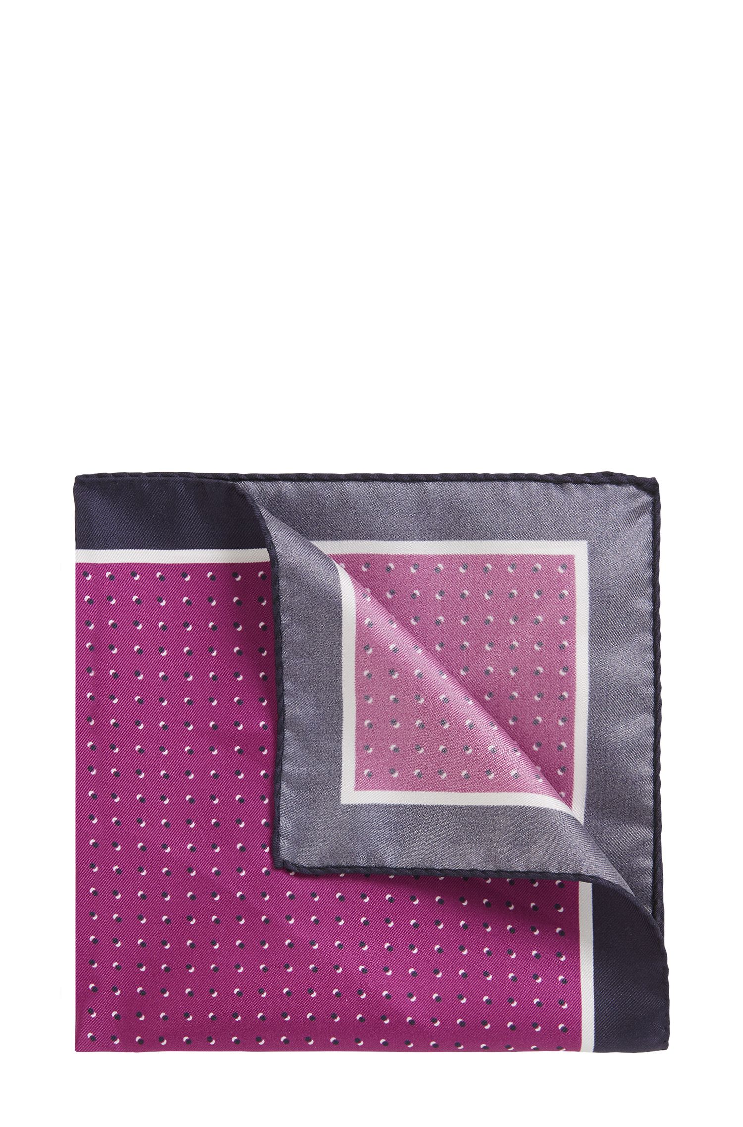 Italian-made silk pocket square with printed motif, Purple