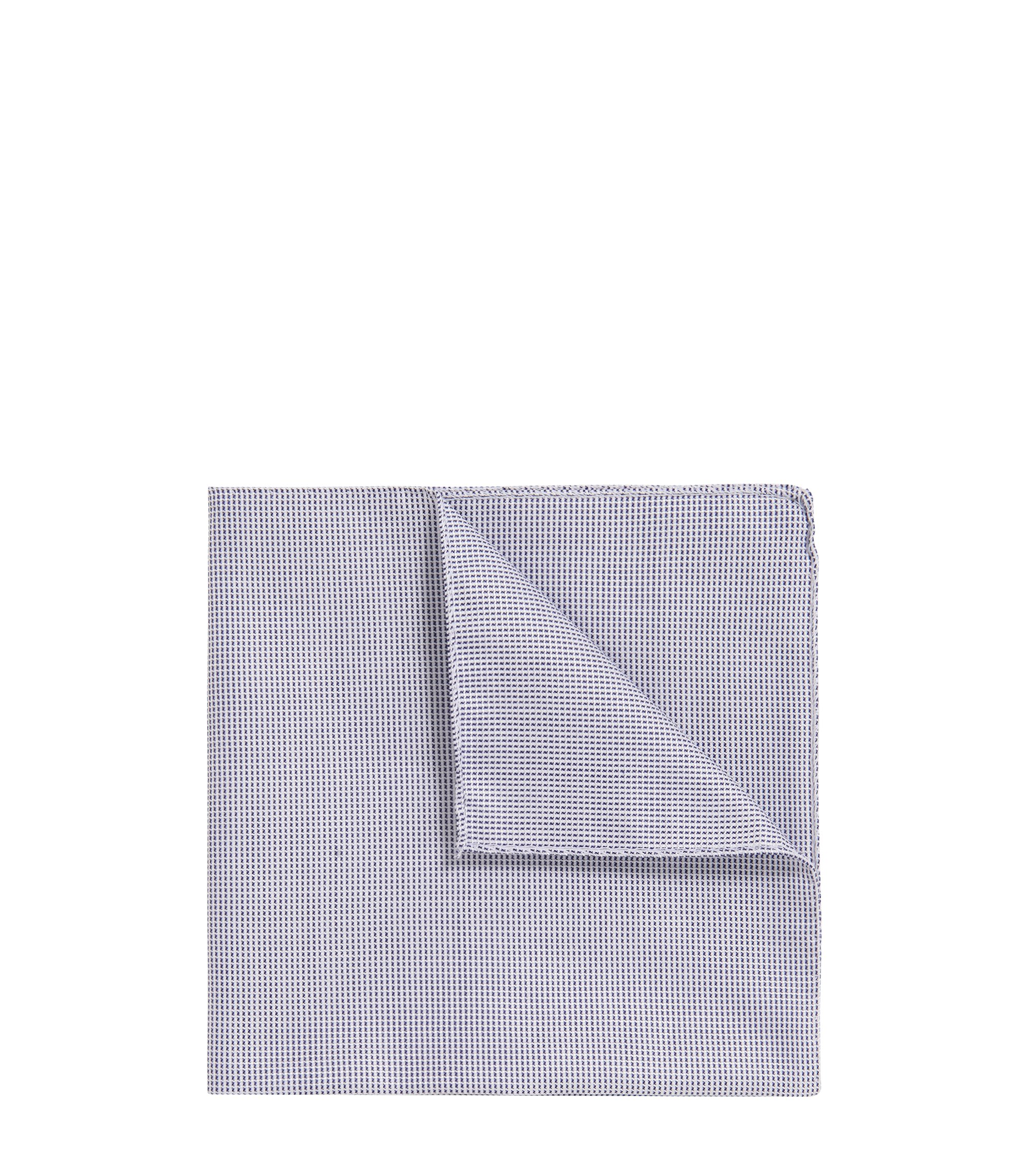 Rolled-hem pocket square in cotton-blend jacquard, Dark Blue