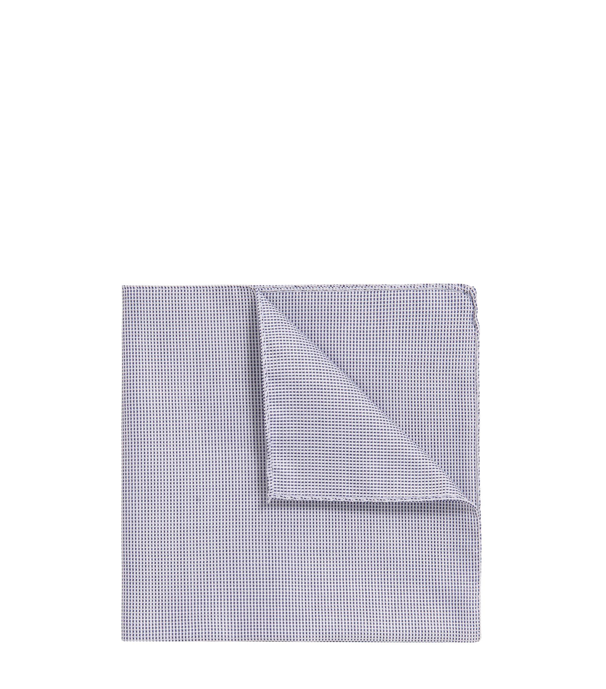 Pañuelo de bolsillo con dobladillo enrollado de jacquard en mezcla de algodón, Azul oscuro
