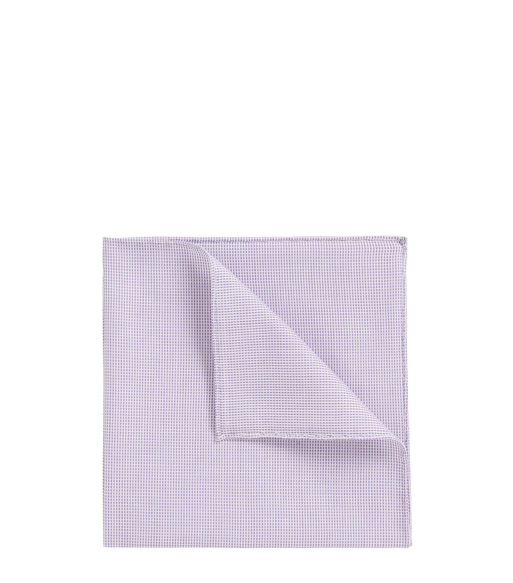 Pañuelo de bolsillo con dobladillo enrollado de jacquard en mezcla de algodón, Lila
