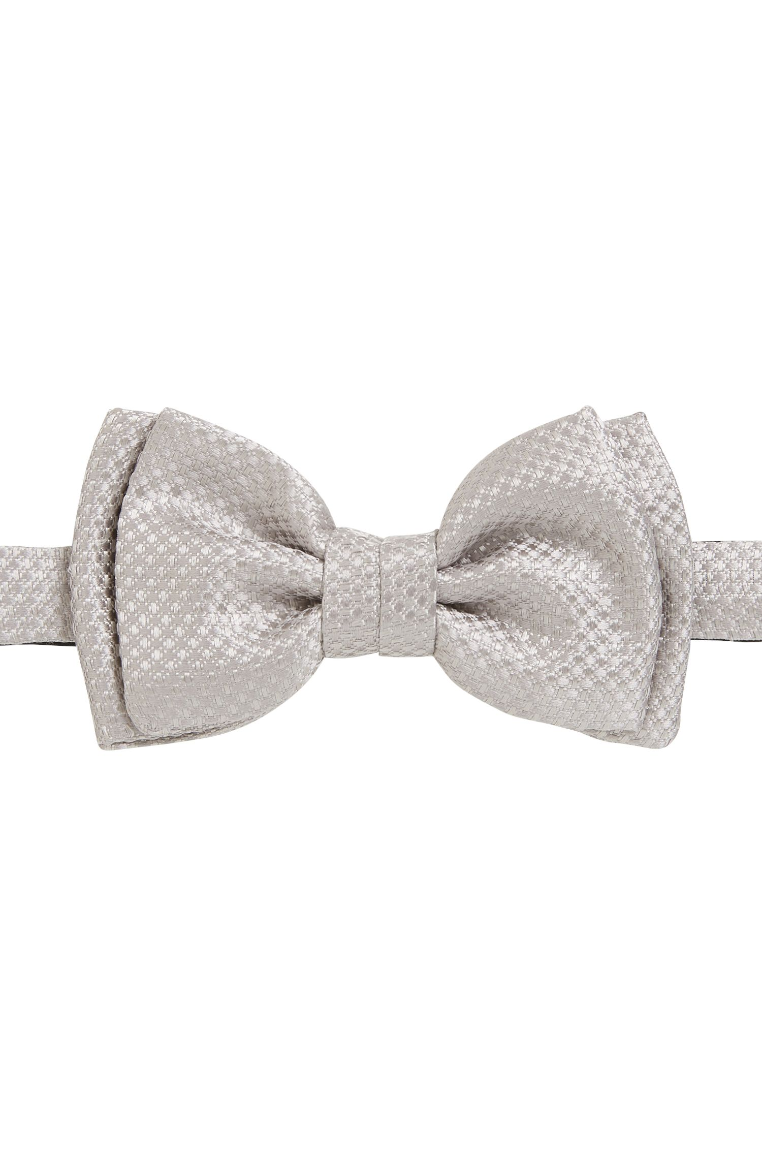 Italian-made bow tie in textured silk jacquard, Open Grey