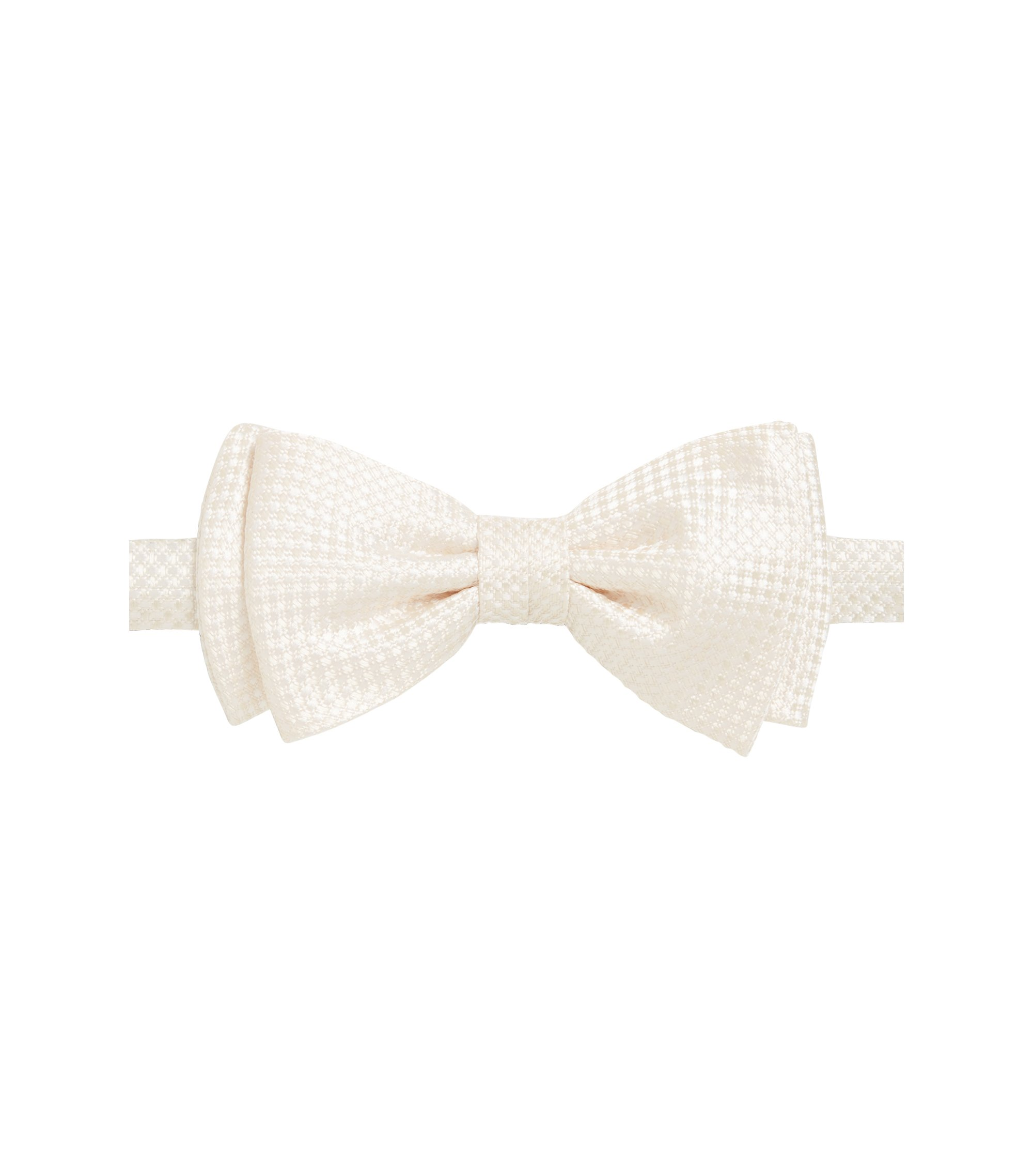 Italian-made bow tie in textured silk jacquard, Light Beige