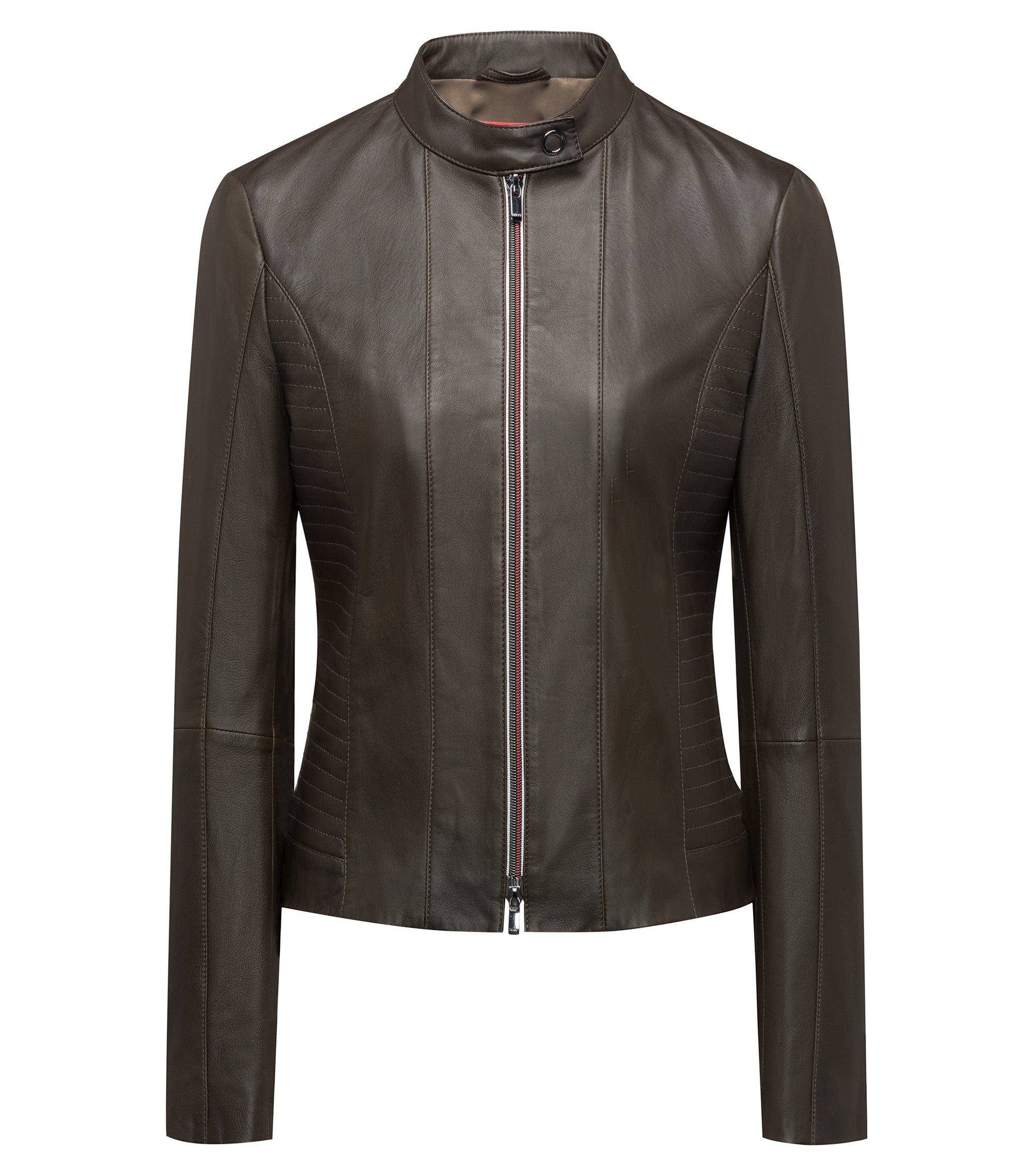 Lambskin biker jacket with smocking and two-way zip, Dark Green