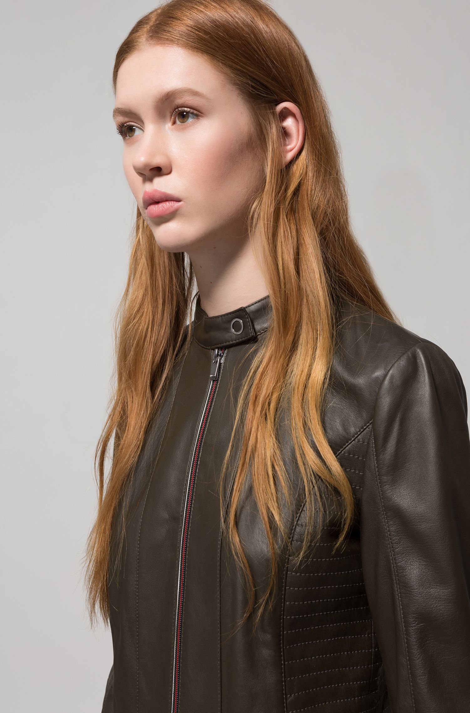 Lambskin biker jacket with smocking and two-way zip