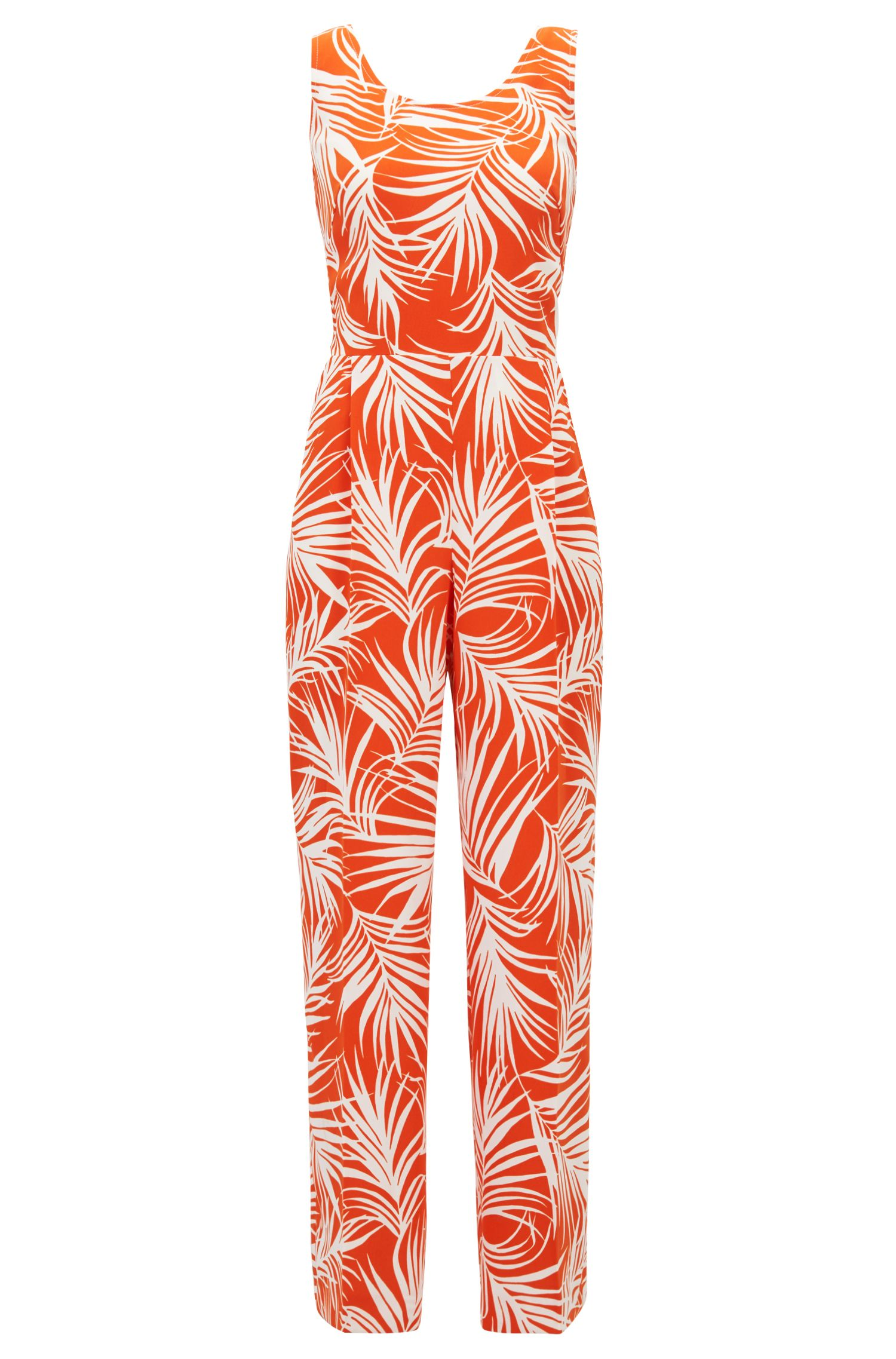 Lightweight jumpsuit with leaf print and cutaway back