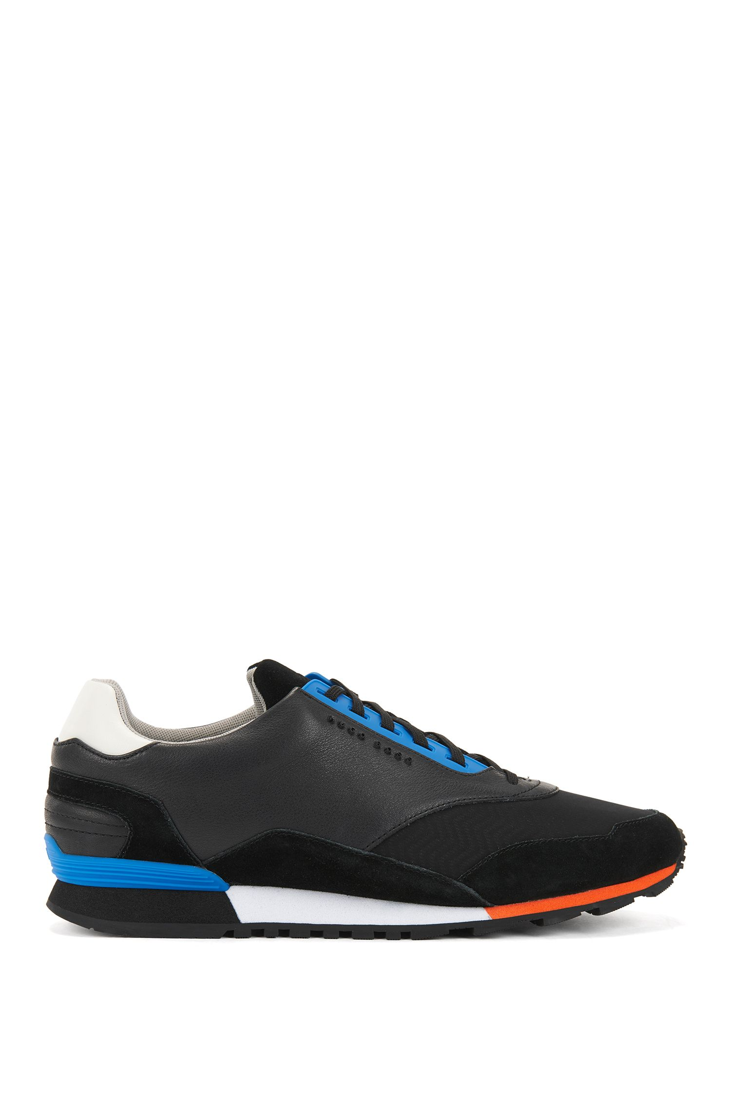 Lowtop Sneakers aus Leder und Material-Mix, Schwarz