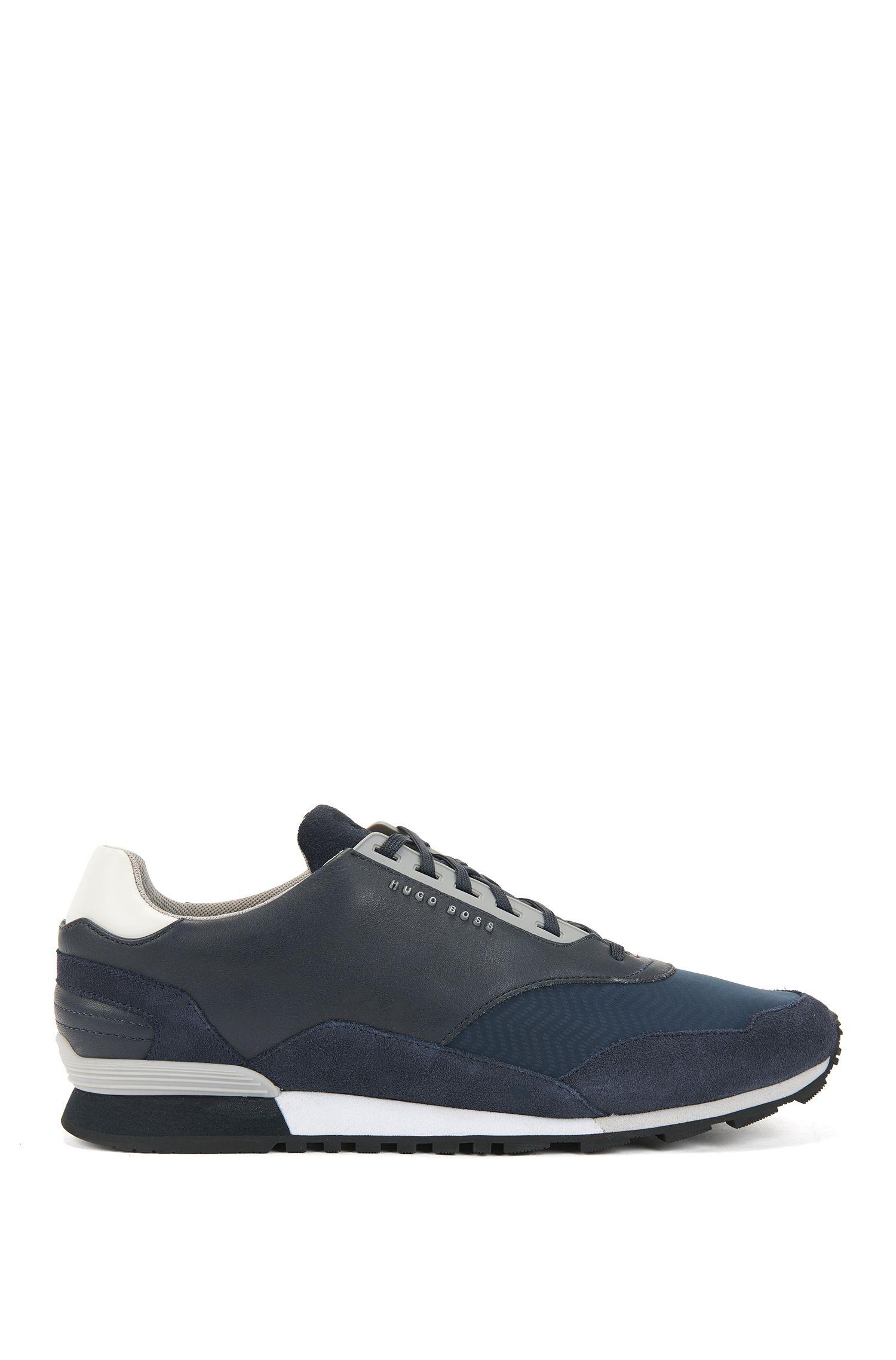 Sneakers basse con tomaia ibrida, Blu scuro